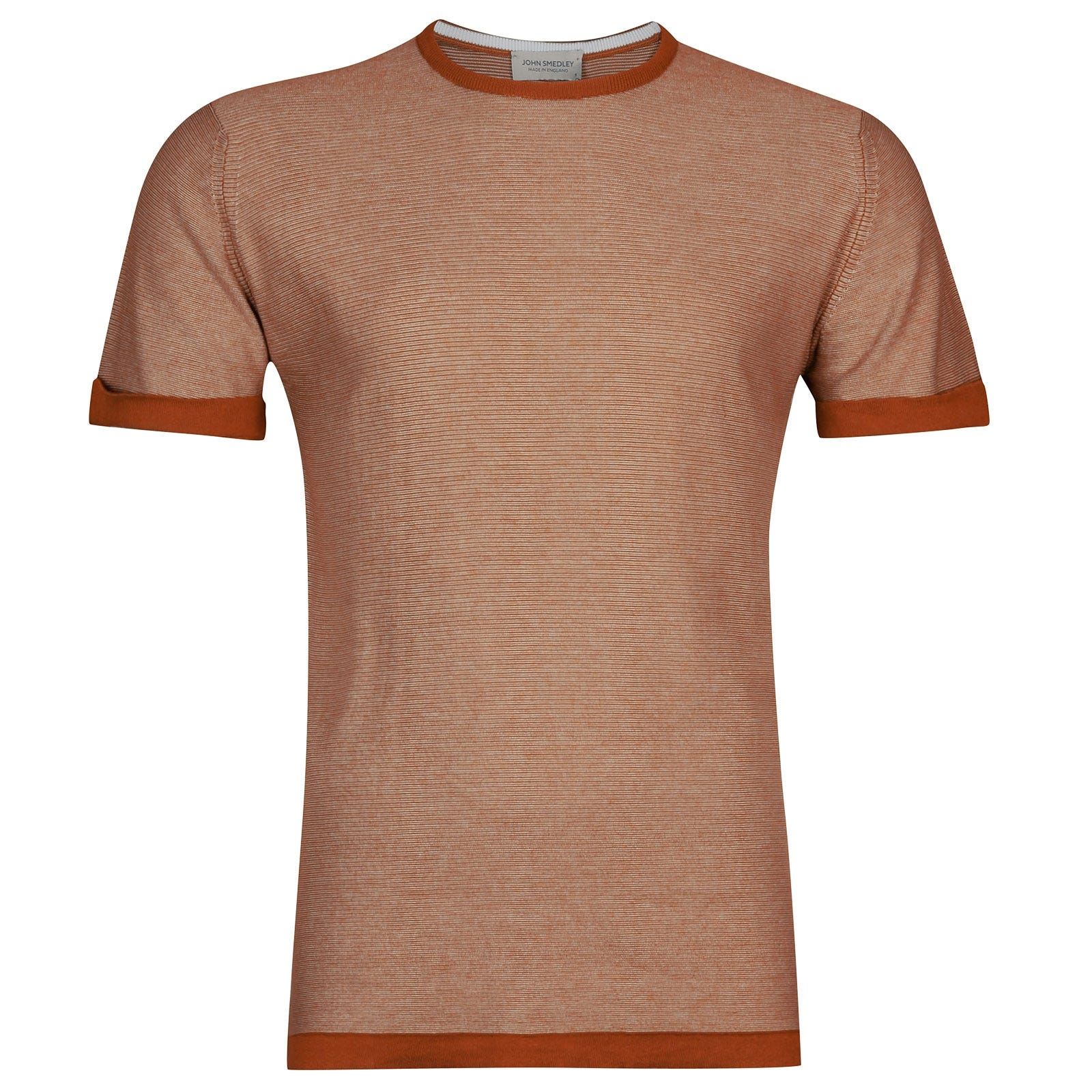John Smedley benhope Sea Island Cotton T-shirt in Flare Orange/White-M