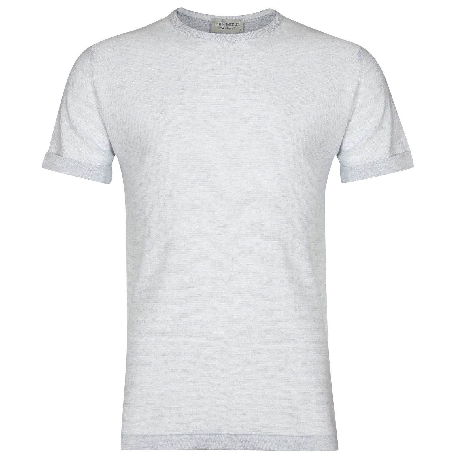 John Smedley benhope Sea Island Cotton T-shirt in Feather Grey/White-M