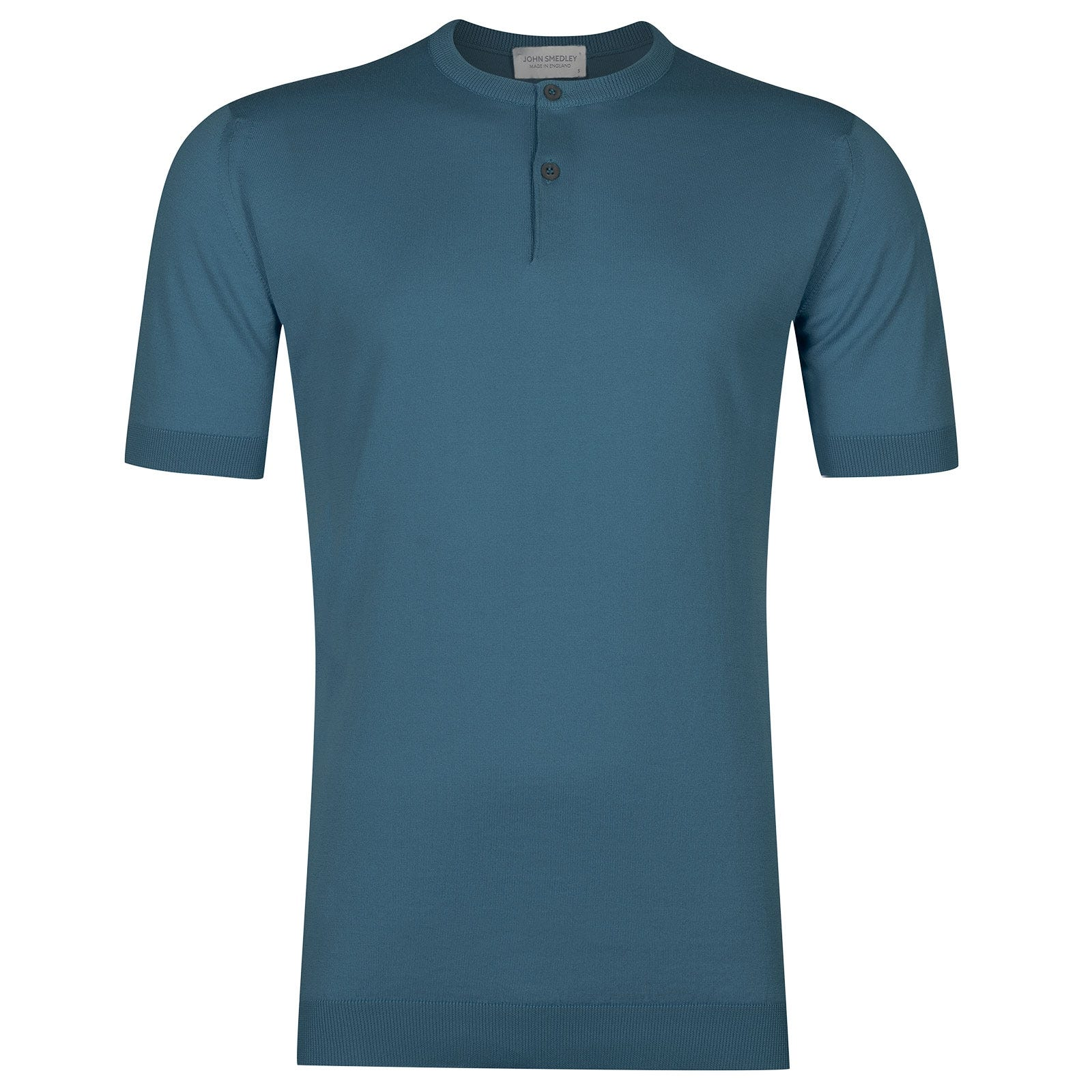 John Smedley Bennett Sea Island Cotton T-shirt in Bias Blue-L