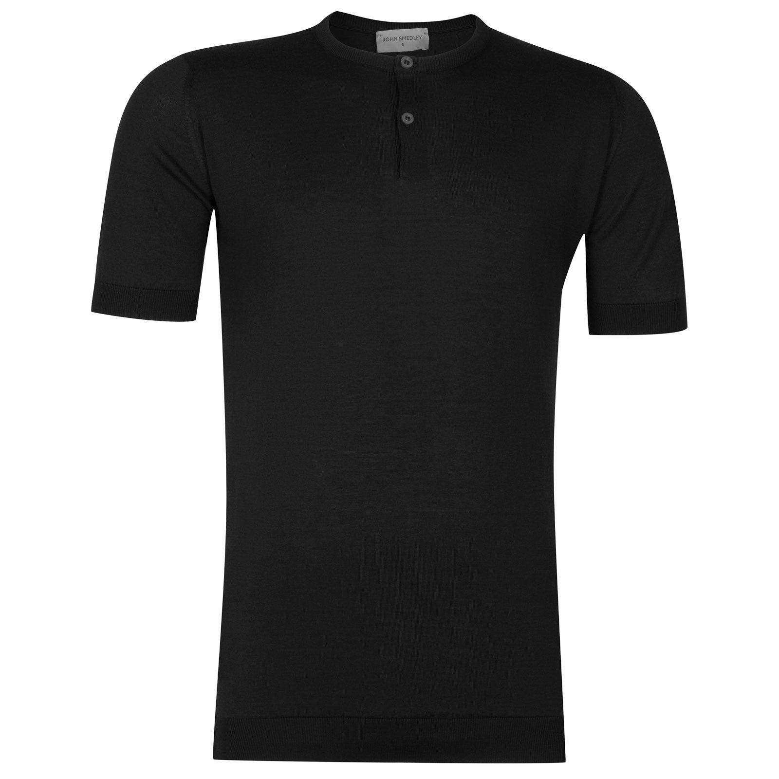 John Smedley Bennett Sea Island Cotton T-shirt in Black-L