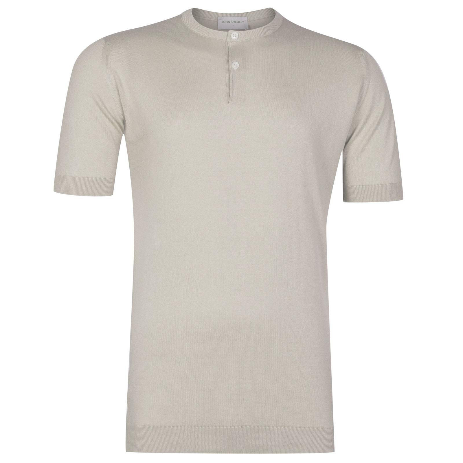 John Smedley Bennett Sea Island Cotton T-shirt in Brunel Beige-XL