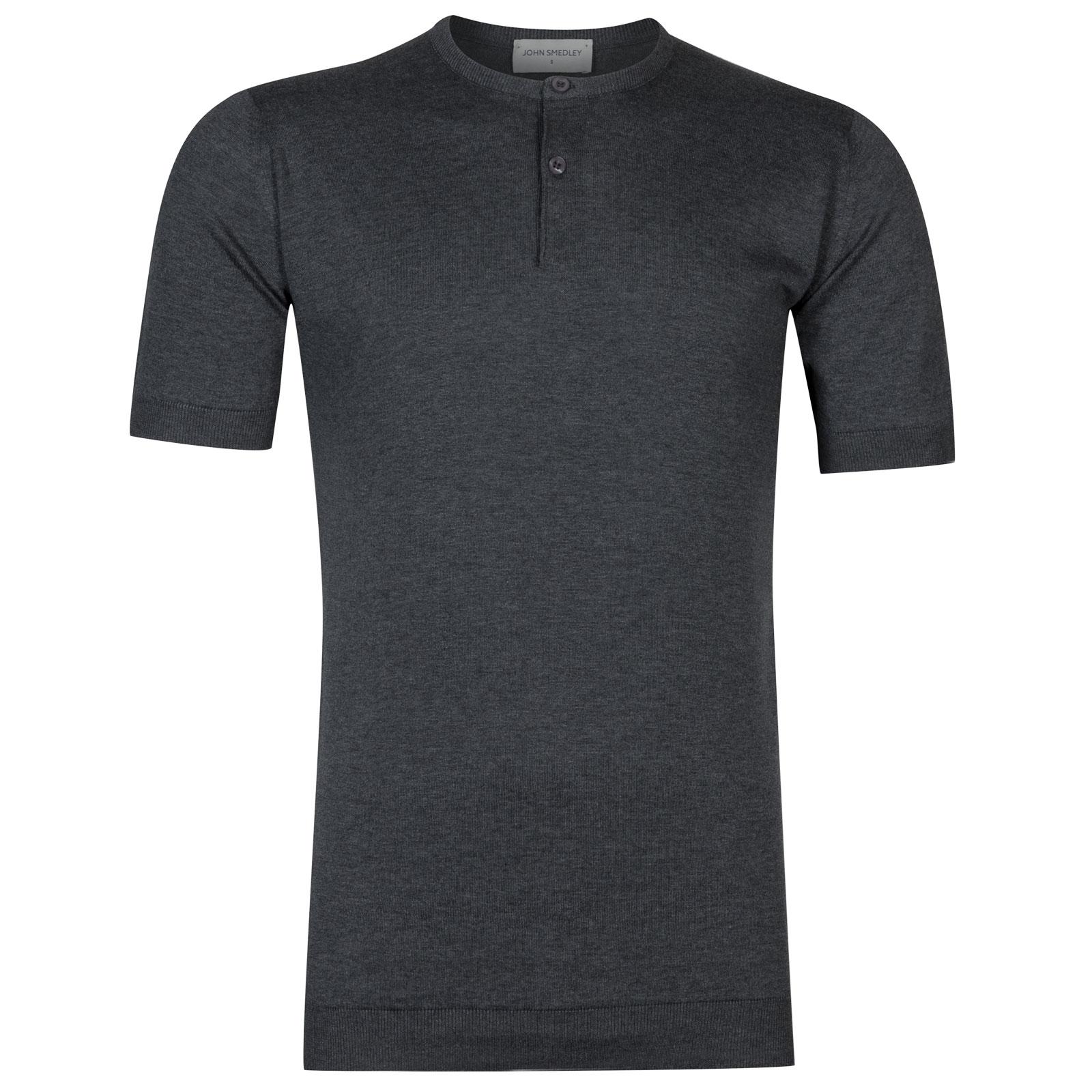John Smedley Bennett Sea Island Cotton T-shirt in Charcoal-L