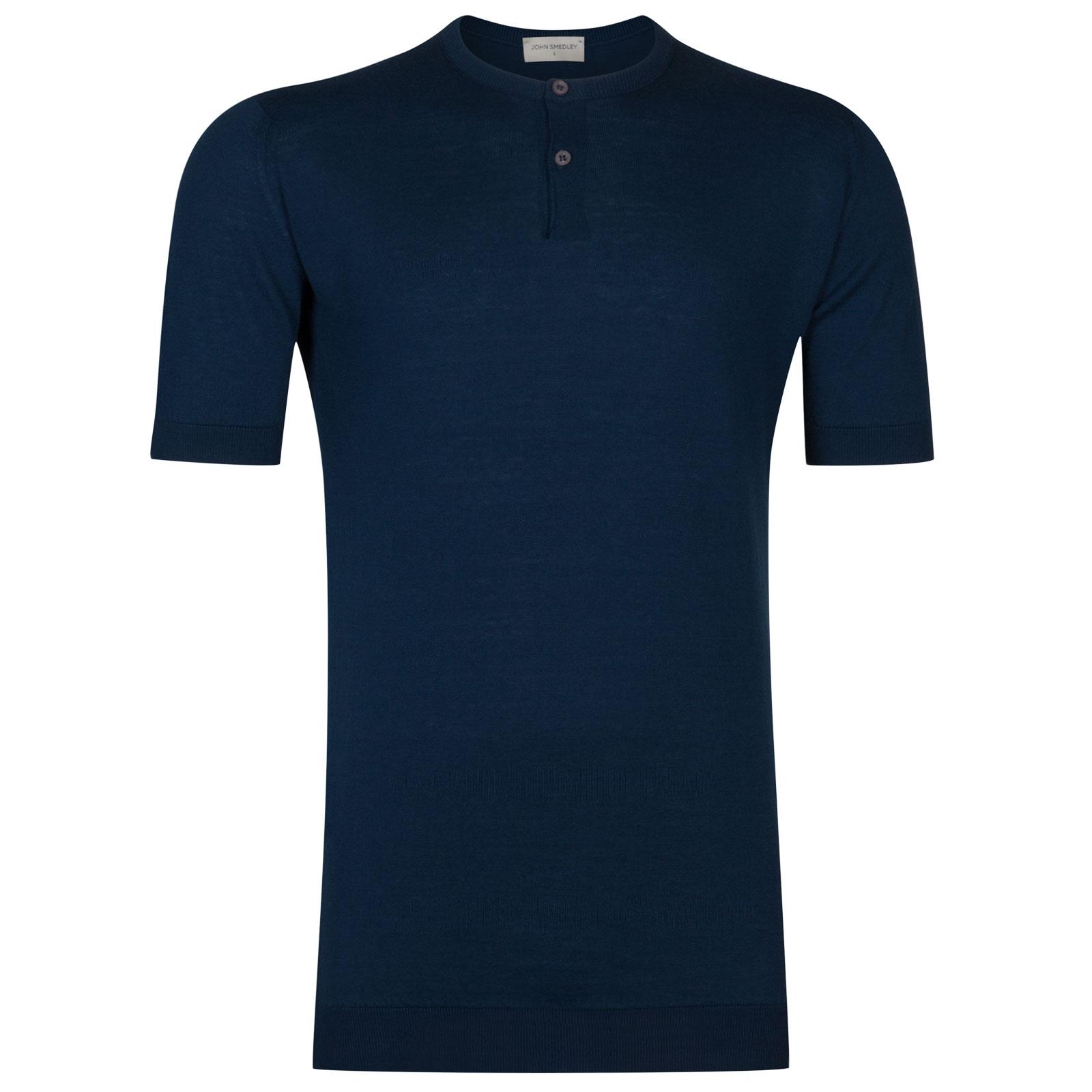 John Smedley Bennett Sea Island Cotton T-shirt in Indigo-M