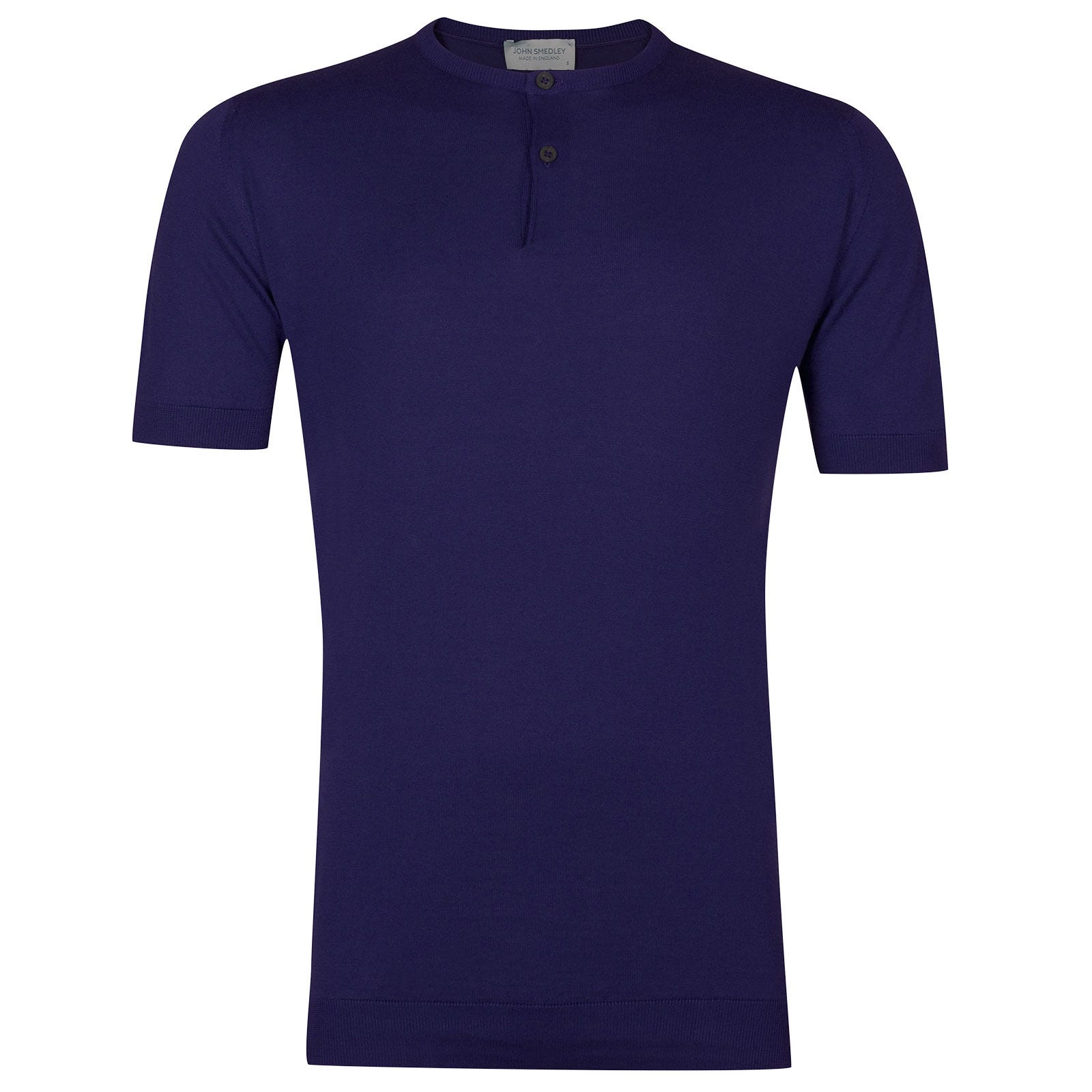 John Smedley Bennett Sea Island Cotton T-shirt in Serge Blue-XL