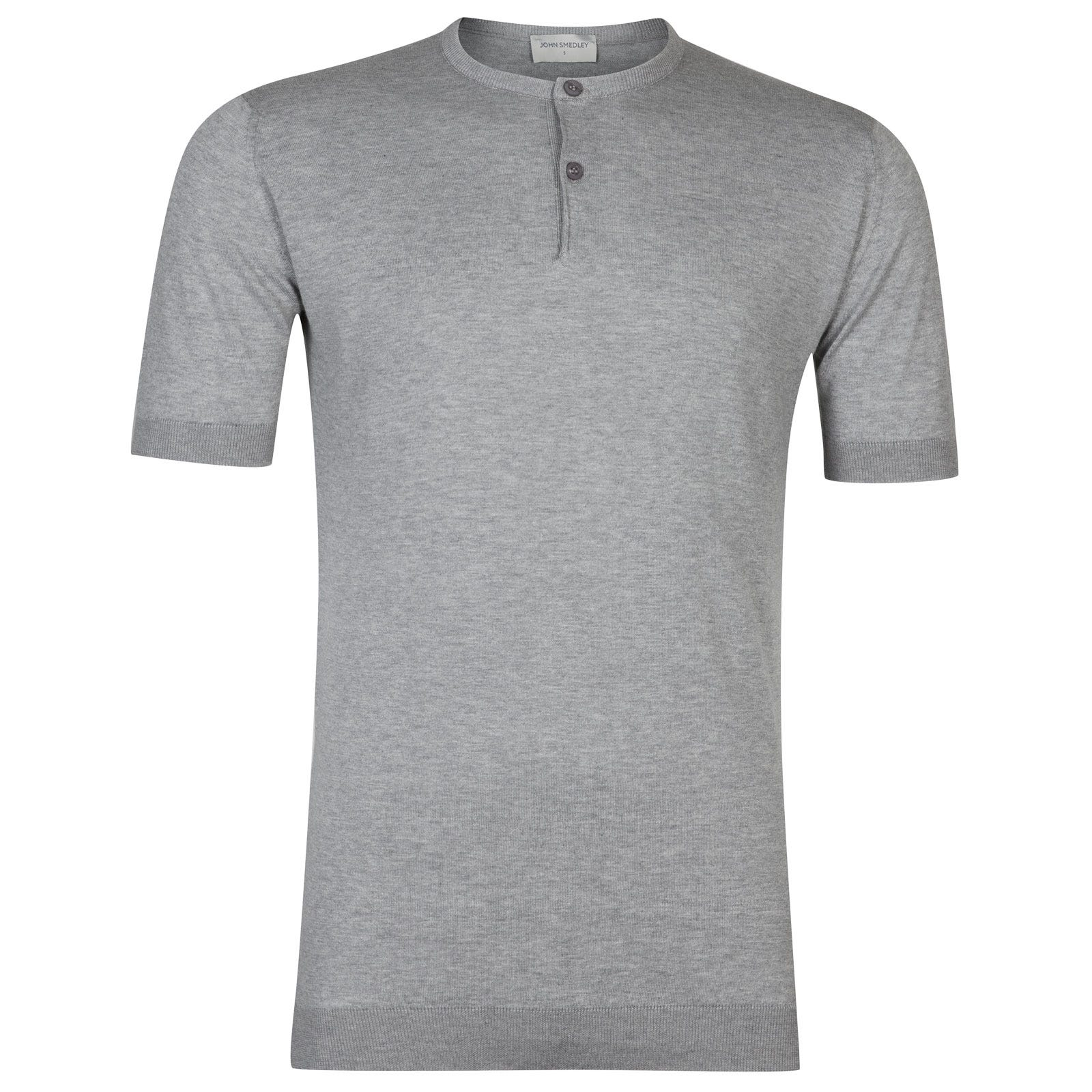 John Smedley Bennett Sea Island Cotton T-shirt in Silver-L