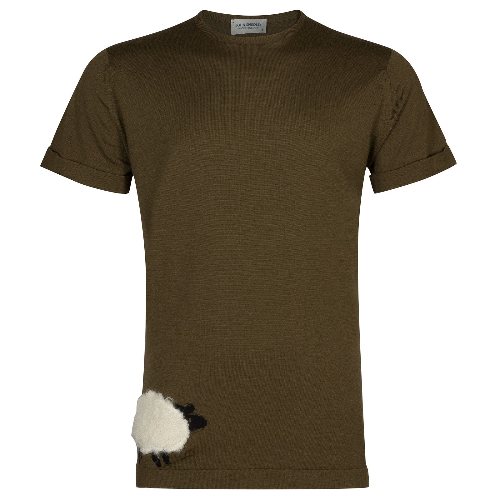John Smedley bleat Merino Wool T-shirt in Kielder Green/Snow White-L