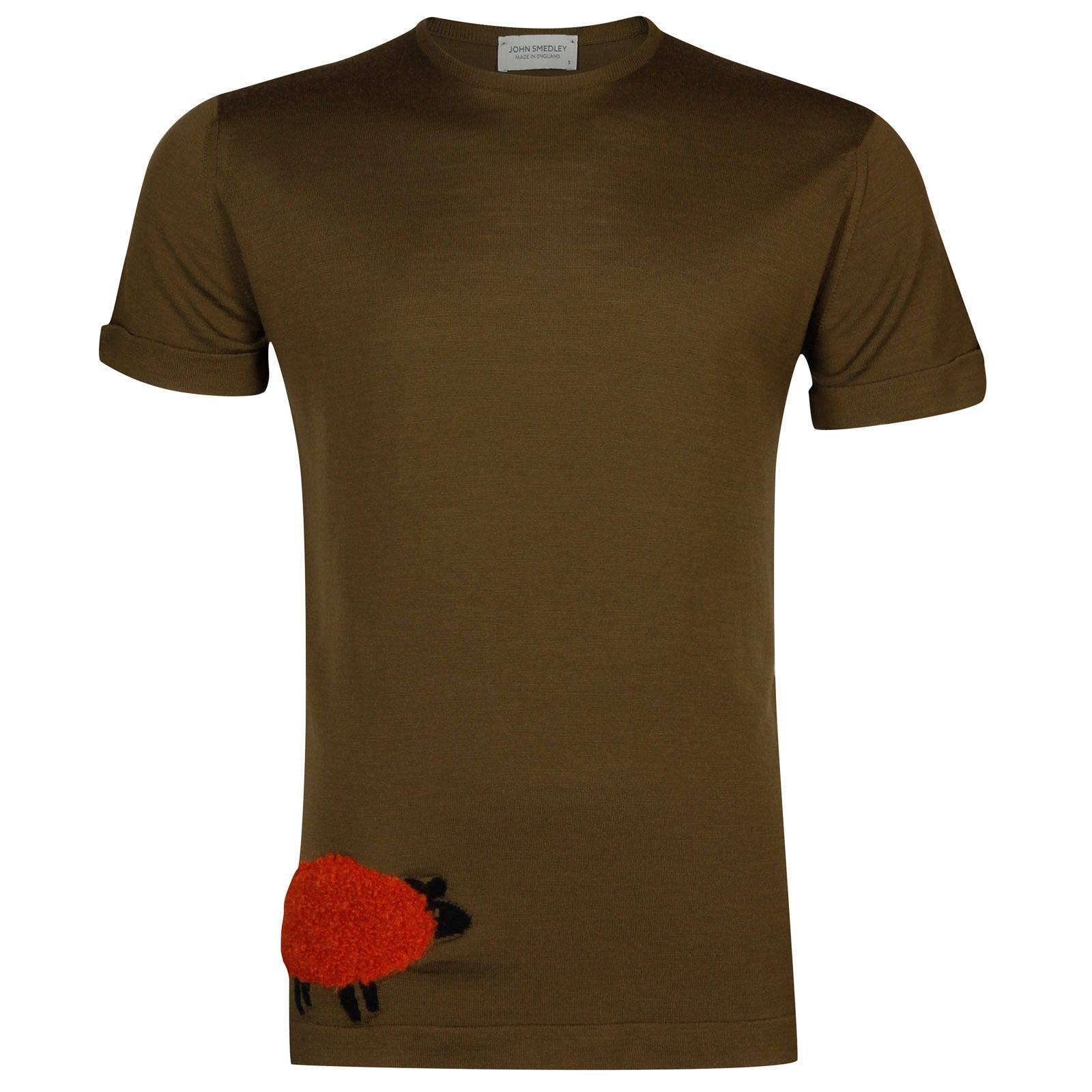 John Smedley bleat Merino Wool T-shirt in Kielder Green/Flare Orange-S