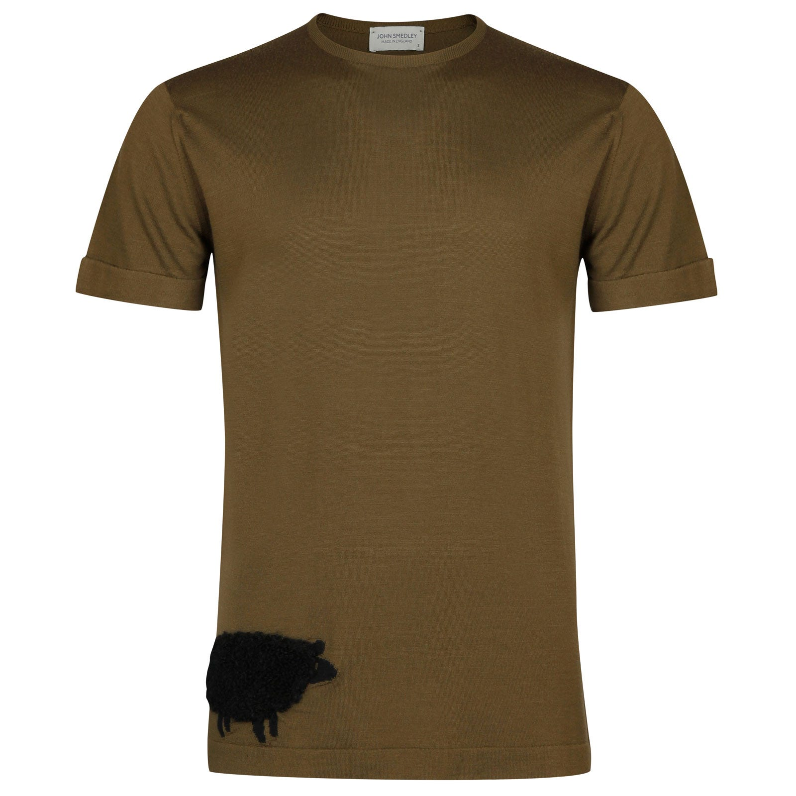 John Smedley bleat Merino Wool T-shirt in Kielder Green/Black-XL