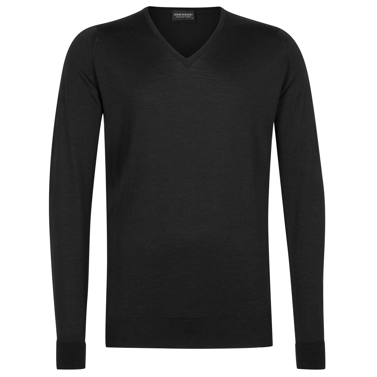 John Smedley Blenheim Merino Wool Pullover in Black-S