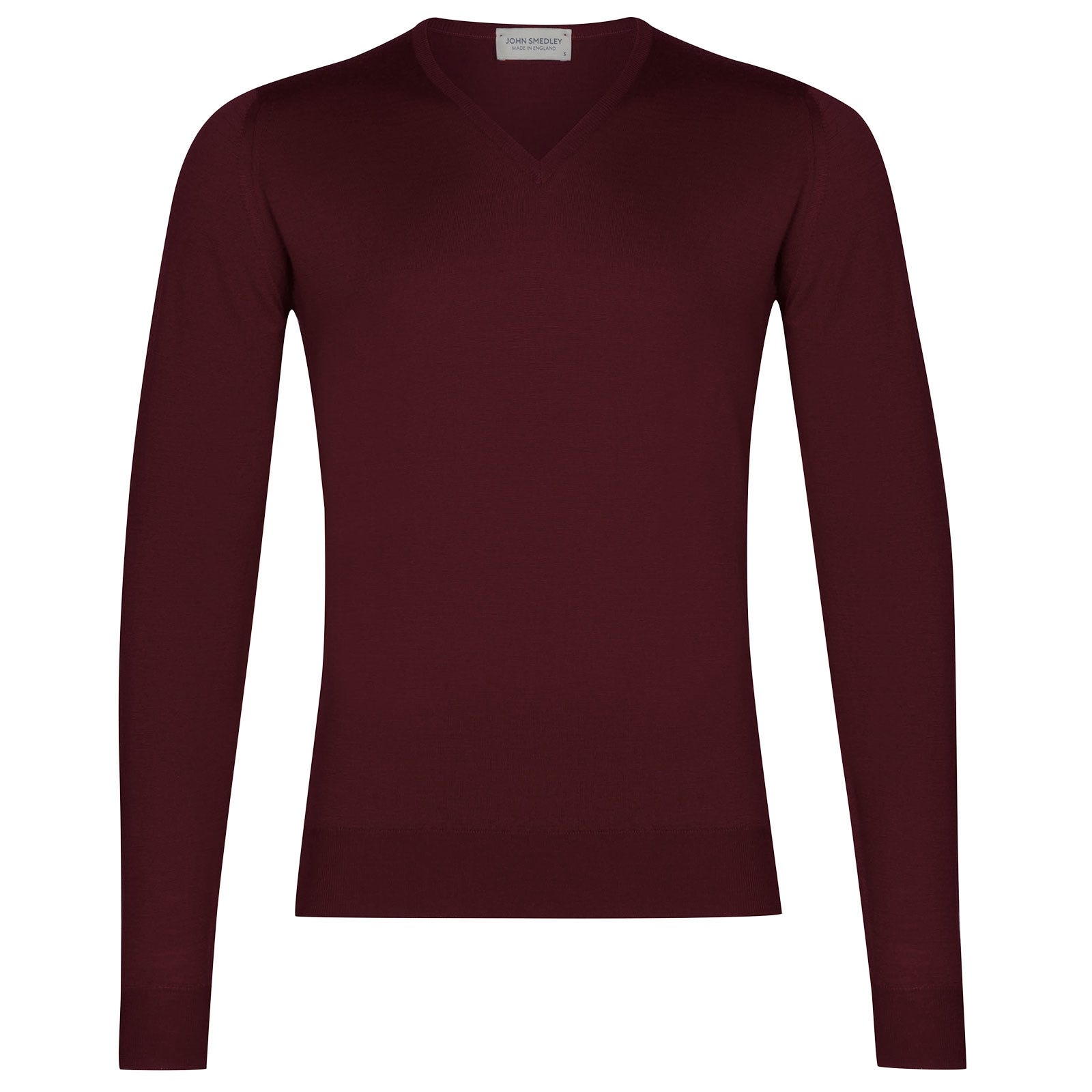 John Smedley Blenheim Merino Wool Pullover in Bordeaux-XL