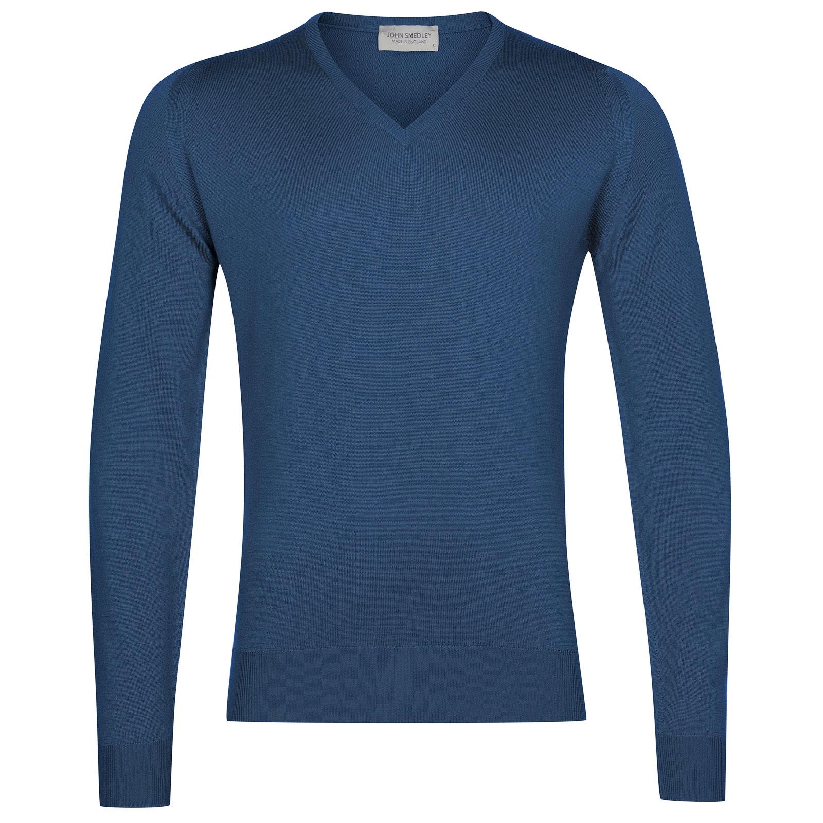 John Smedley Blenheim Merino Wool Pullover in Derwent Blue-L