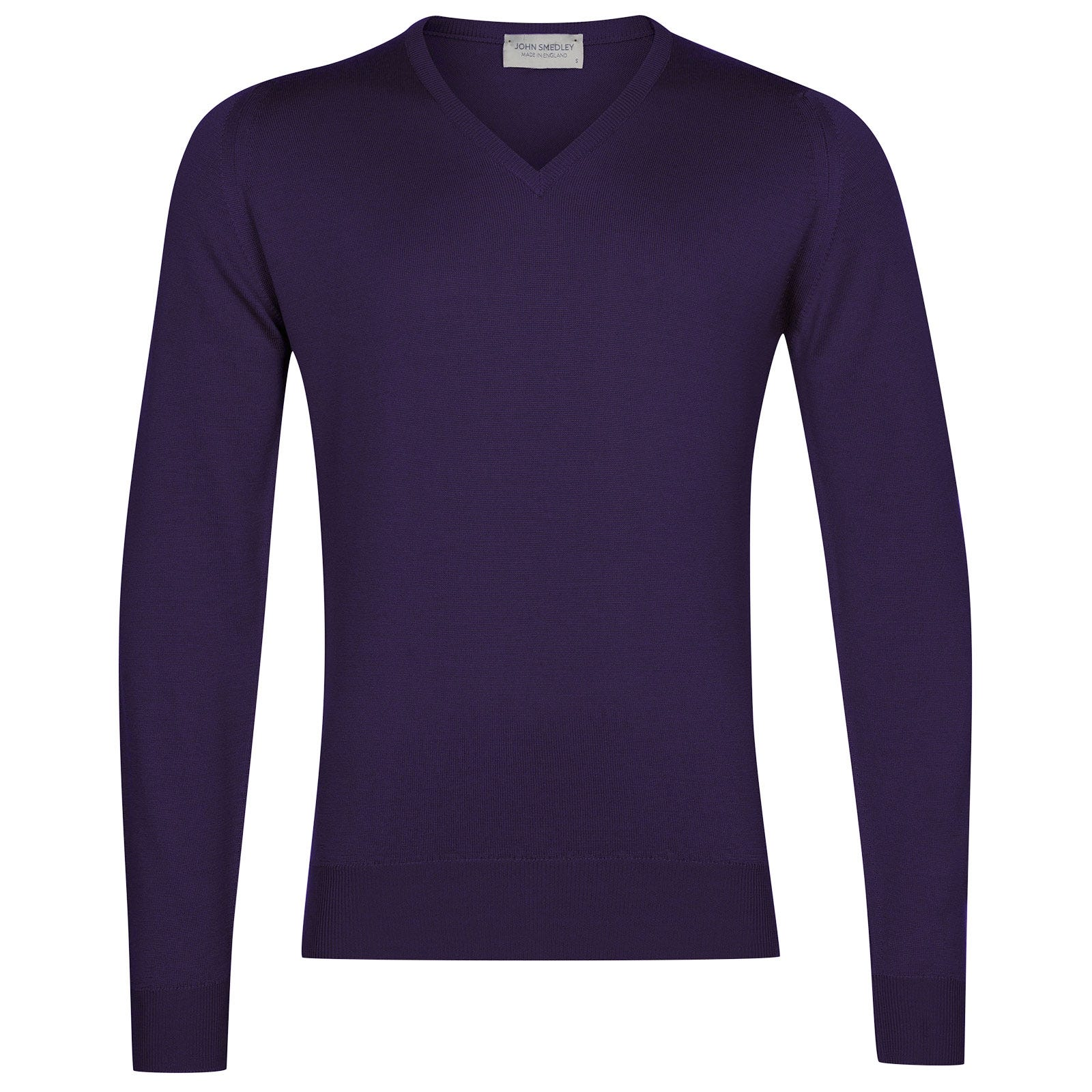 John Smedley Blenheim Merino Wool Pullover in Elderberry Purple-XL