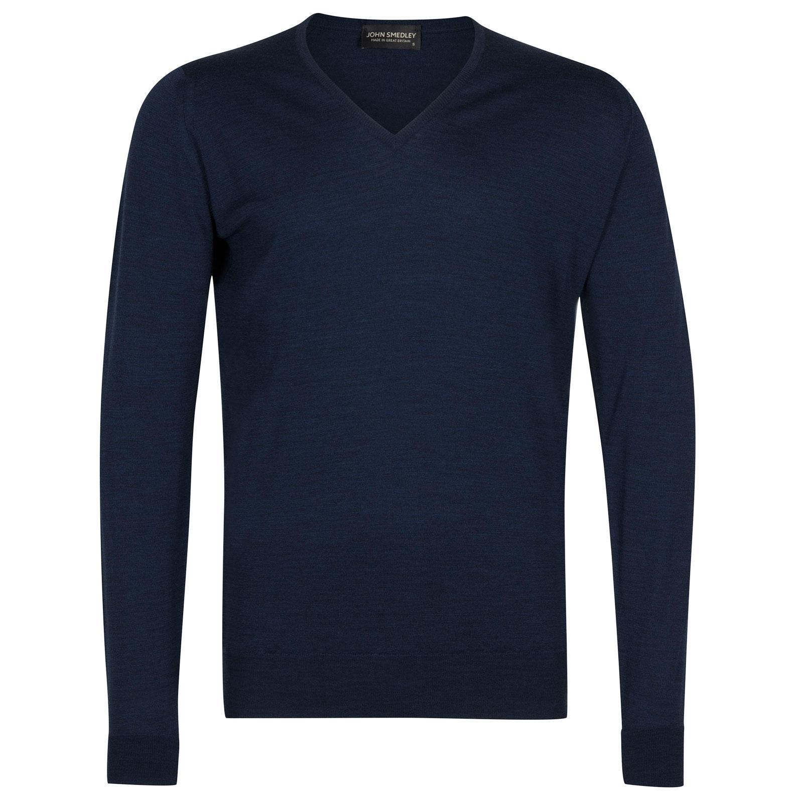 John Smedley Blenheim Merino Wool Pullover in Indigo-XL