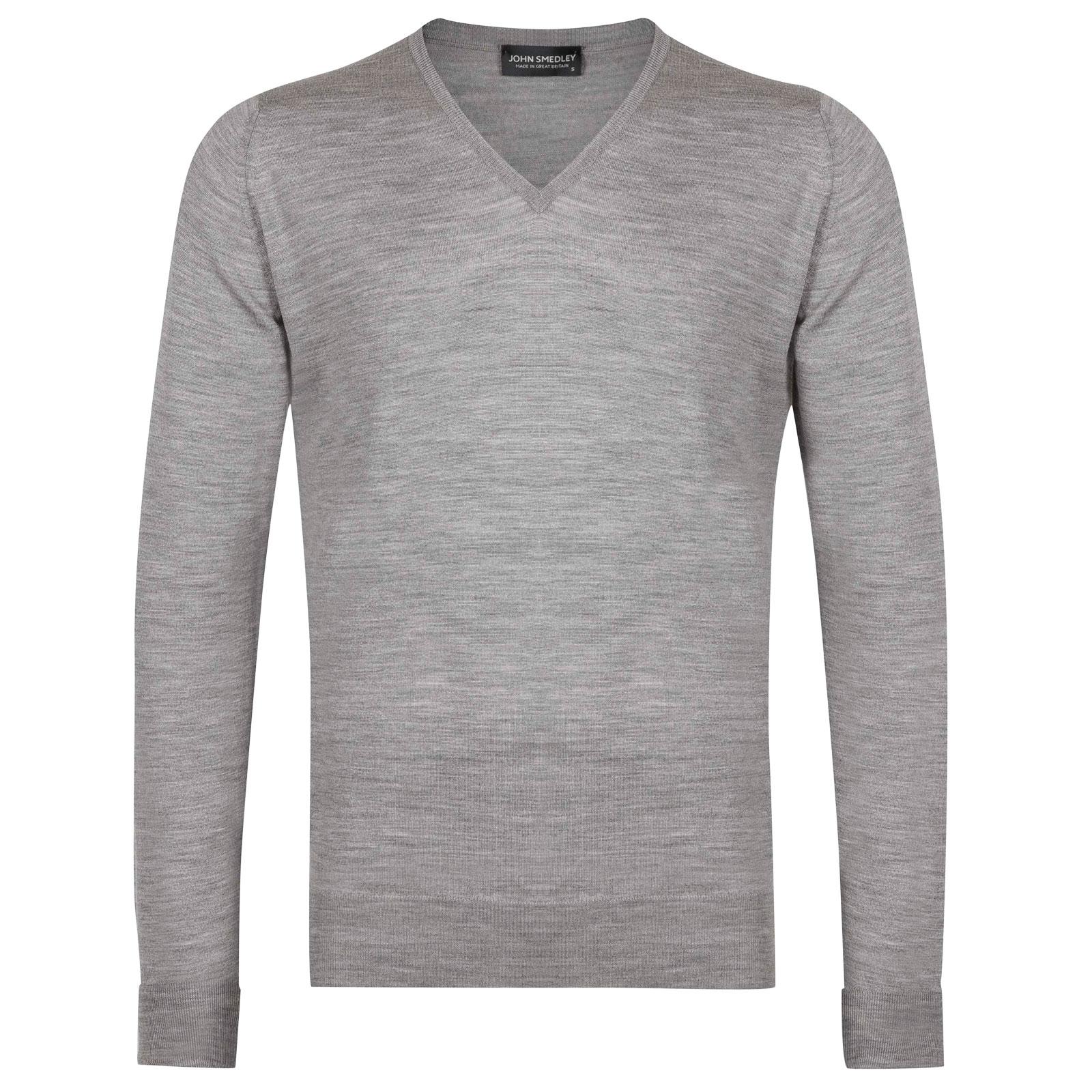 John Smedley Blenheim Merino Wool Pullover in Silver-S
