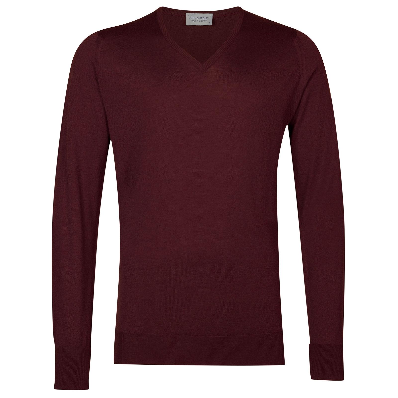 John Smedley Bobby Merino Wool Pullover in Bordeaux-XXL