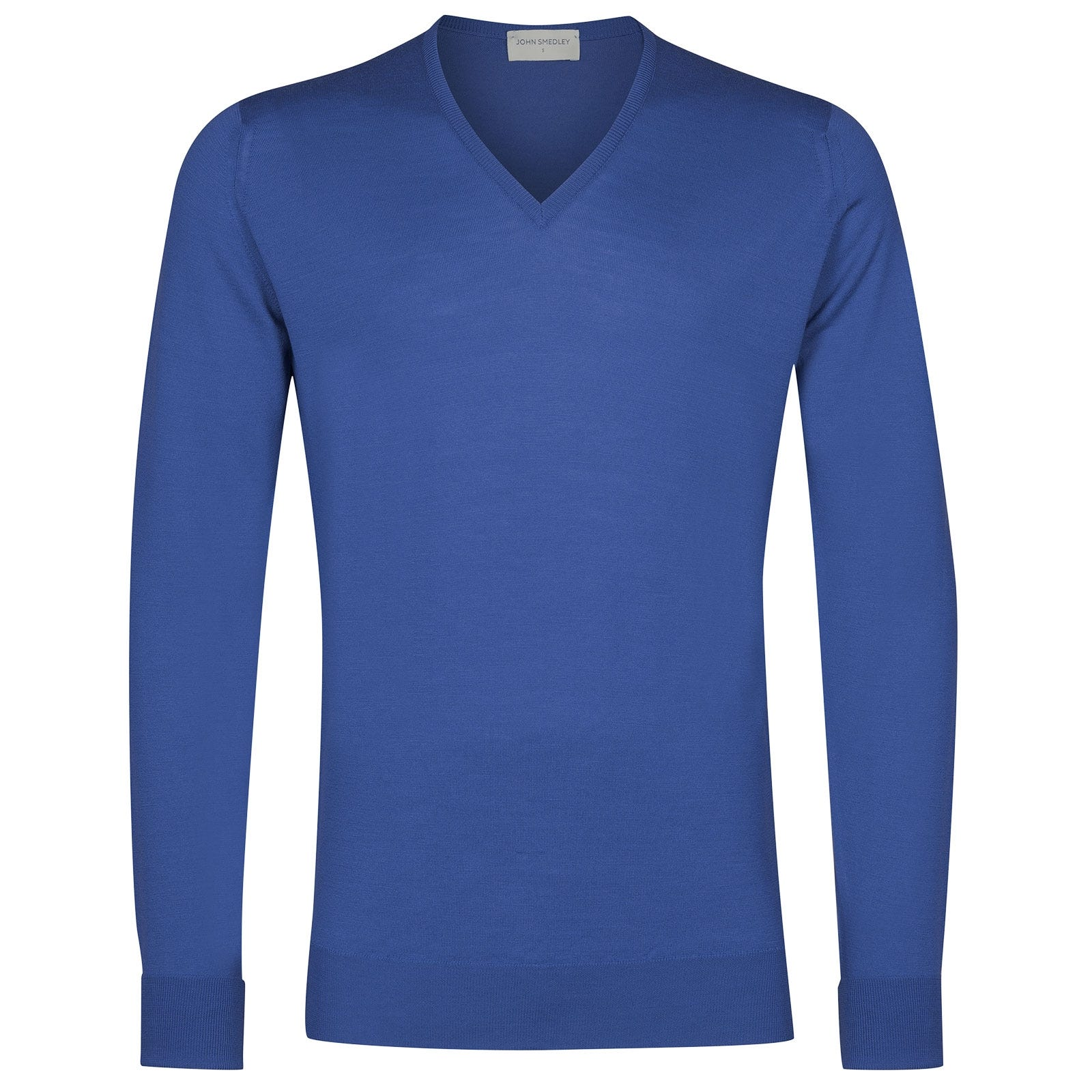 John Smedley Bobby Merino Wool Pullover in Chambray Blue-XXL