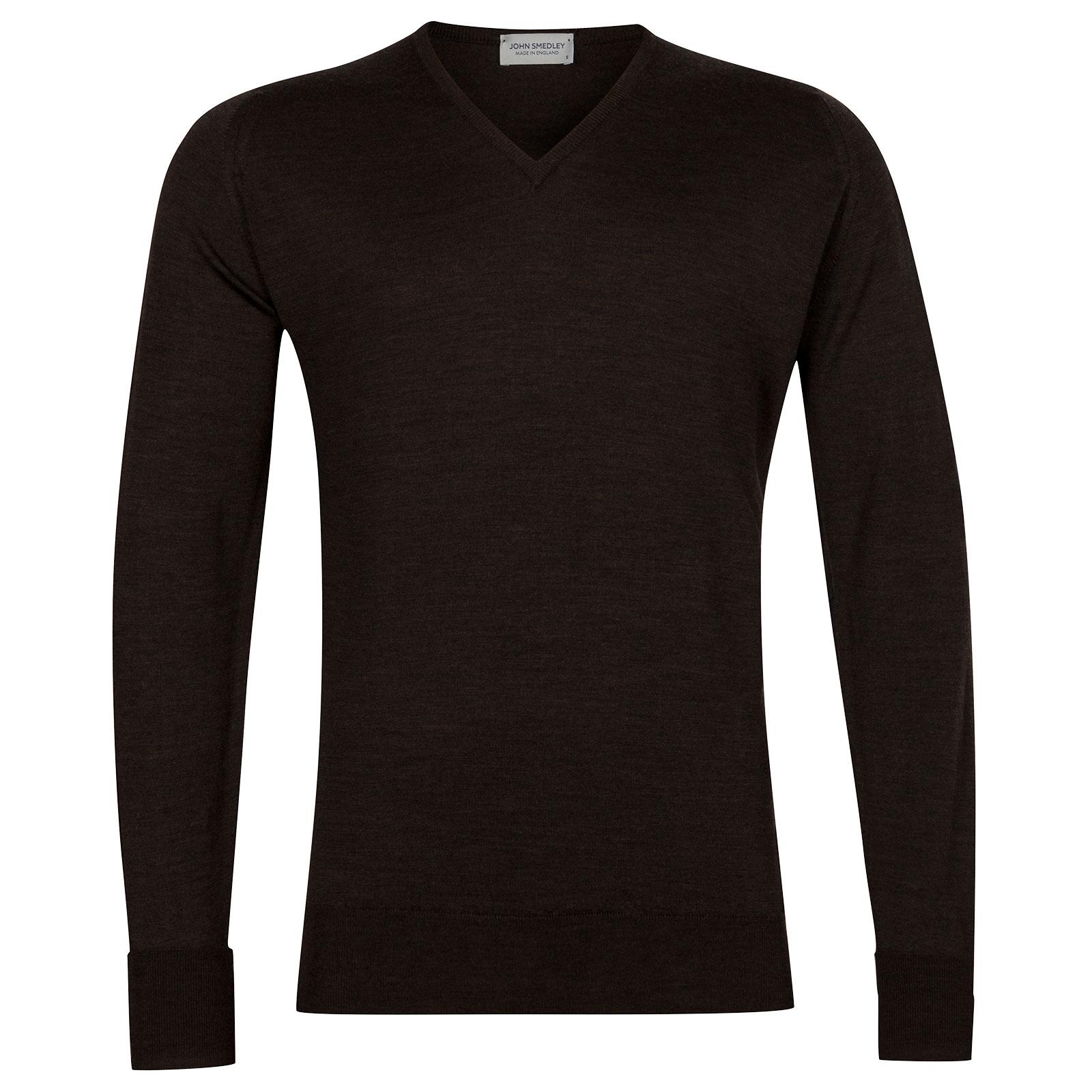 John Smedley Bobby Merino Wool Pullover in Chestnut-XL