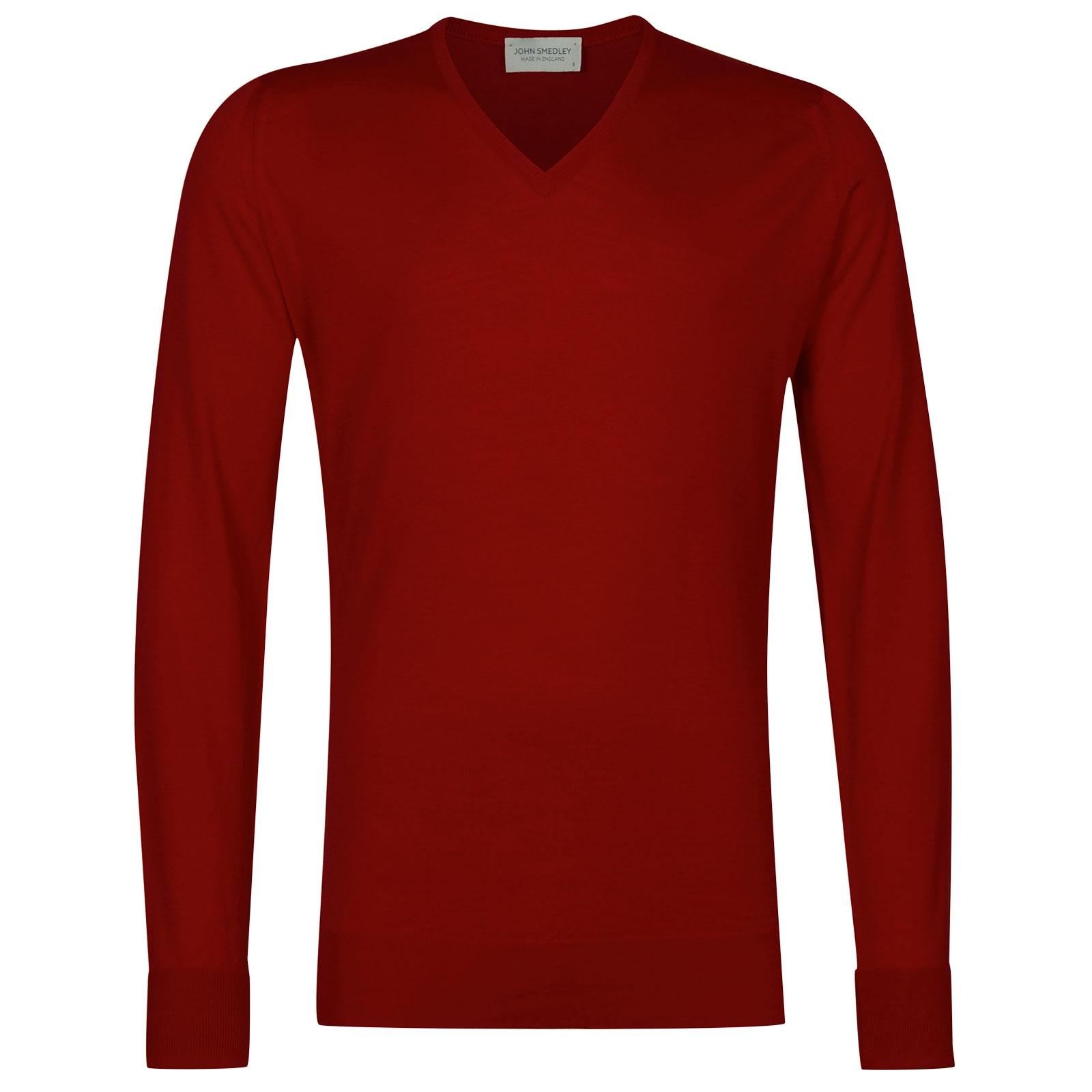 John Smedley Bobby Merino Wool Pullover in Dandy Red-XL