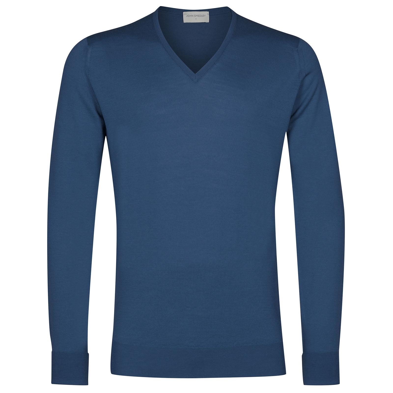 John Smedley bobby Merino Wool Pullover in Derwent Blue-L