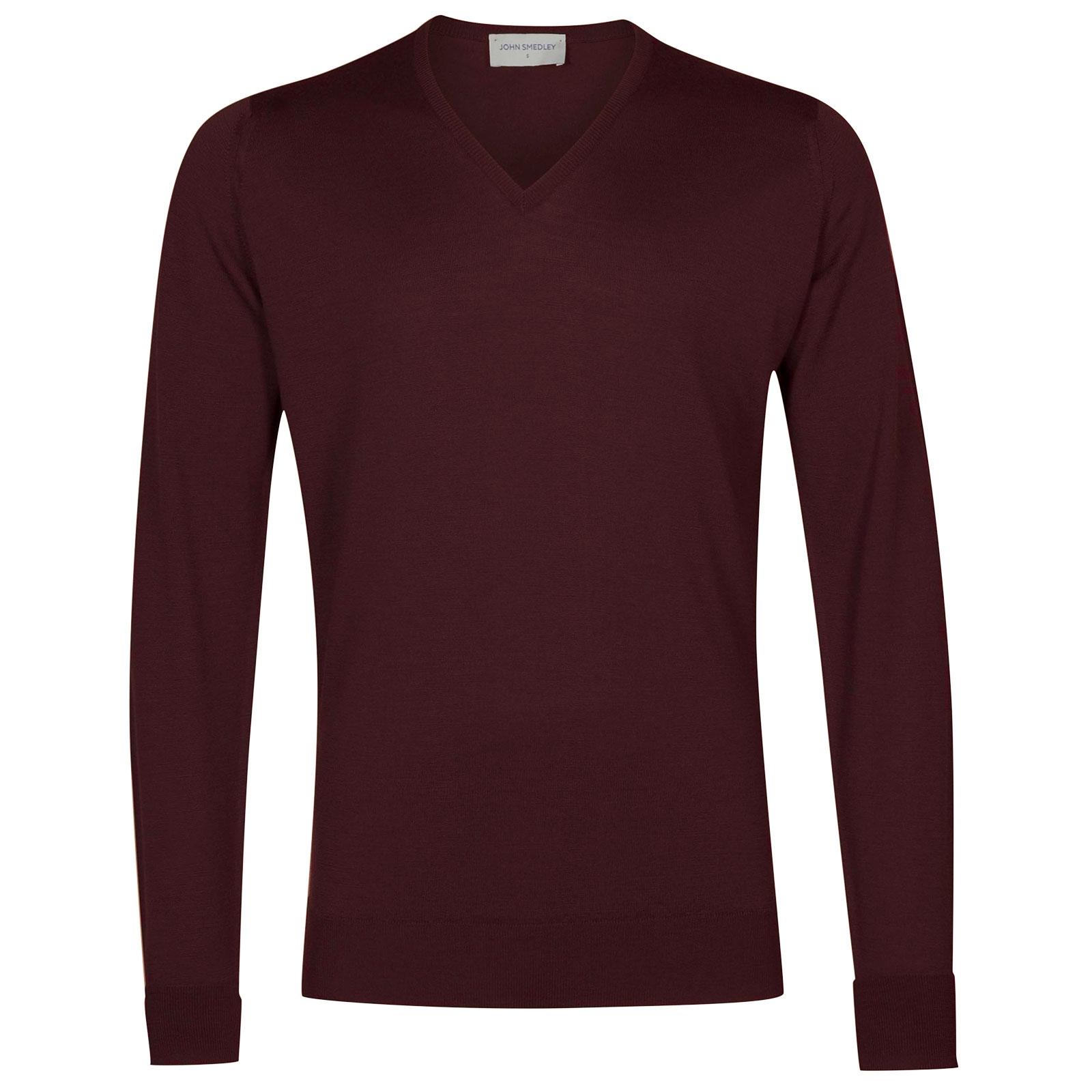 John Smedley bobby Merino Wool Pullover in Maroon Blaze-XL