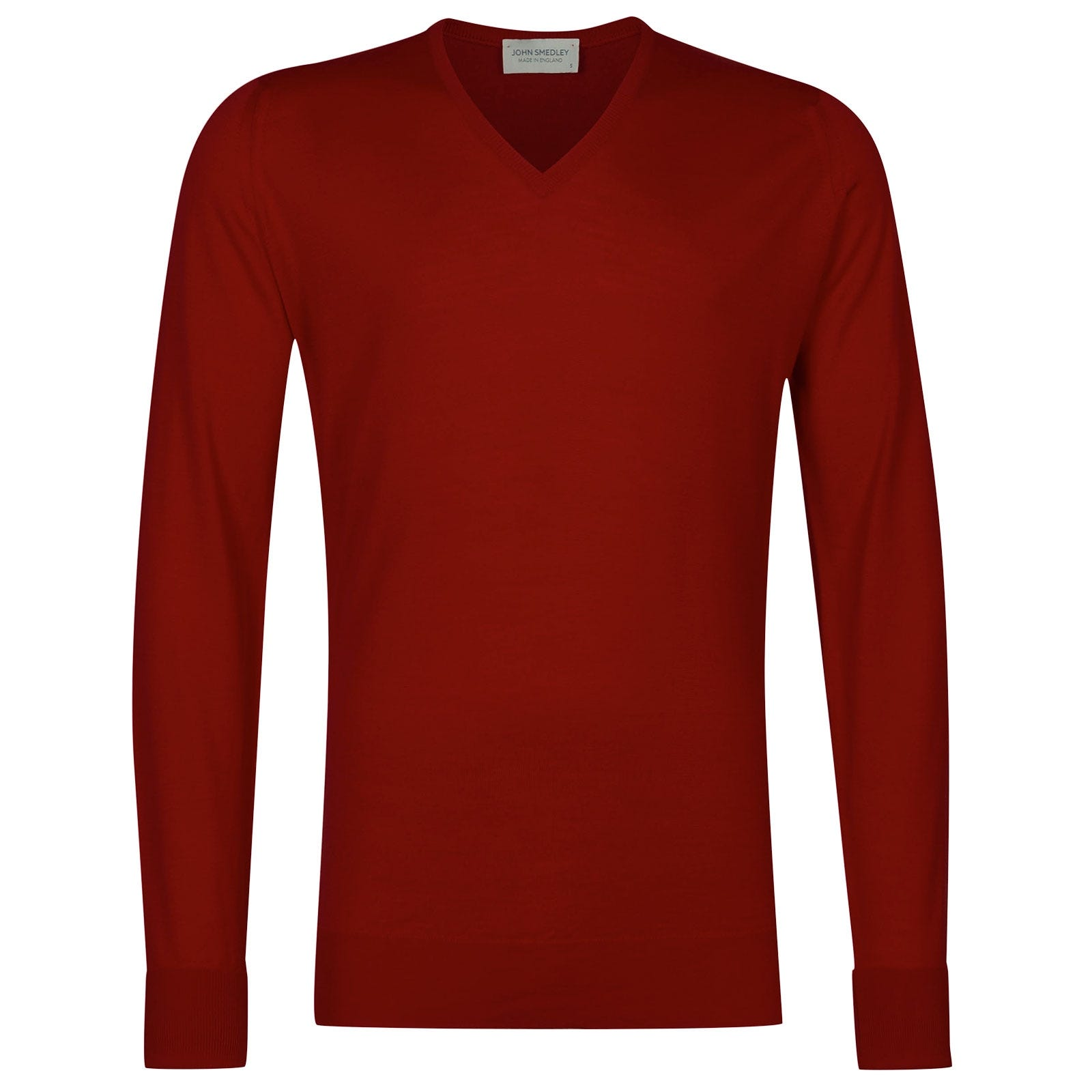 John Smedley Bobby Merino Wool Pullover in Thermal Red-M