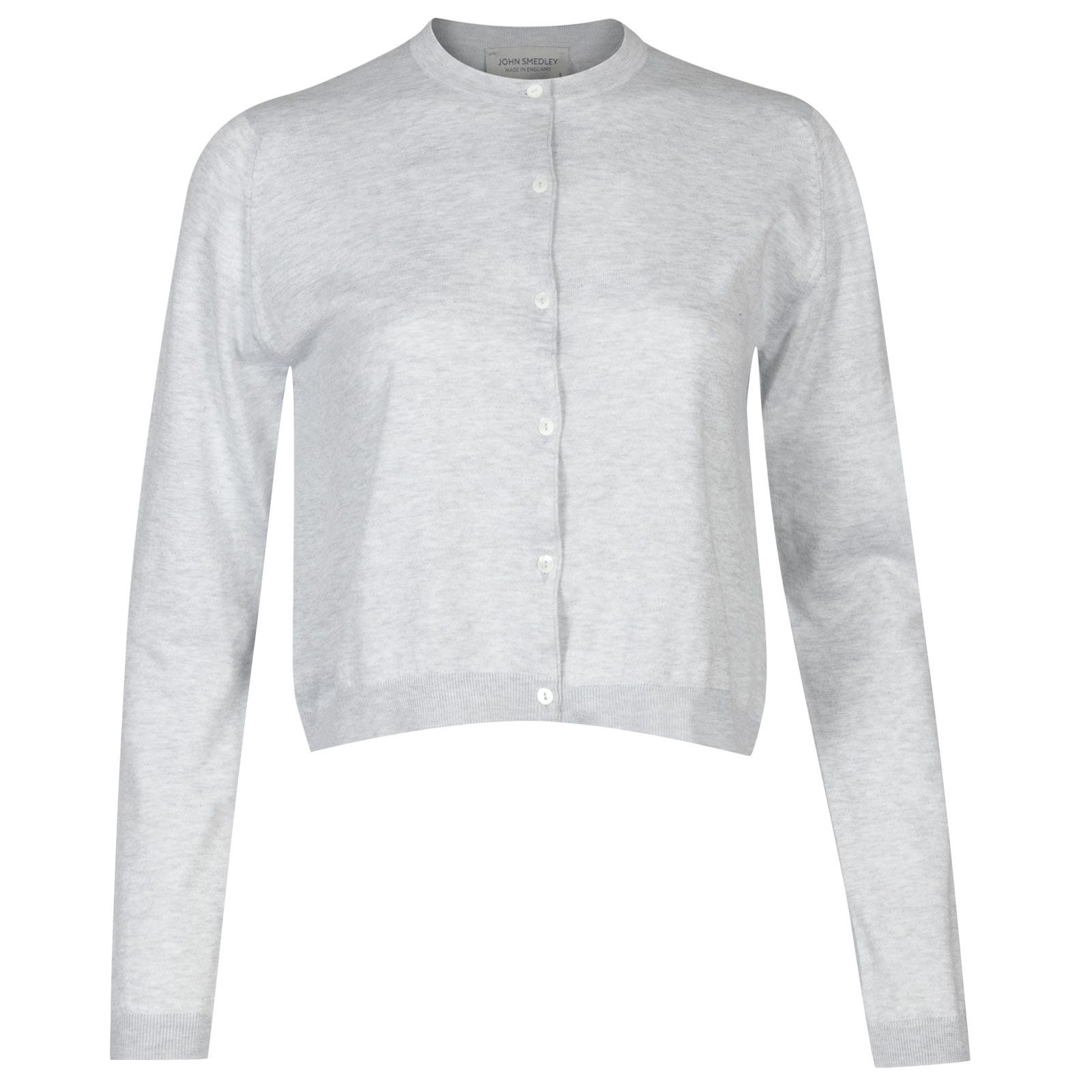 John Smedley Bowes Sea Island Cotton Cardigan in Feather Grey-XL