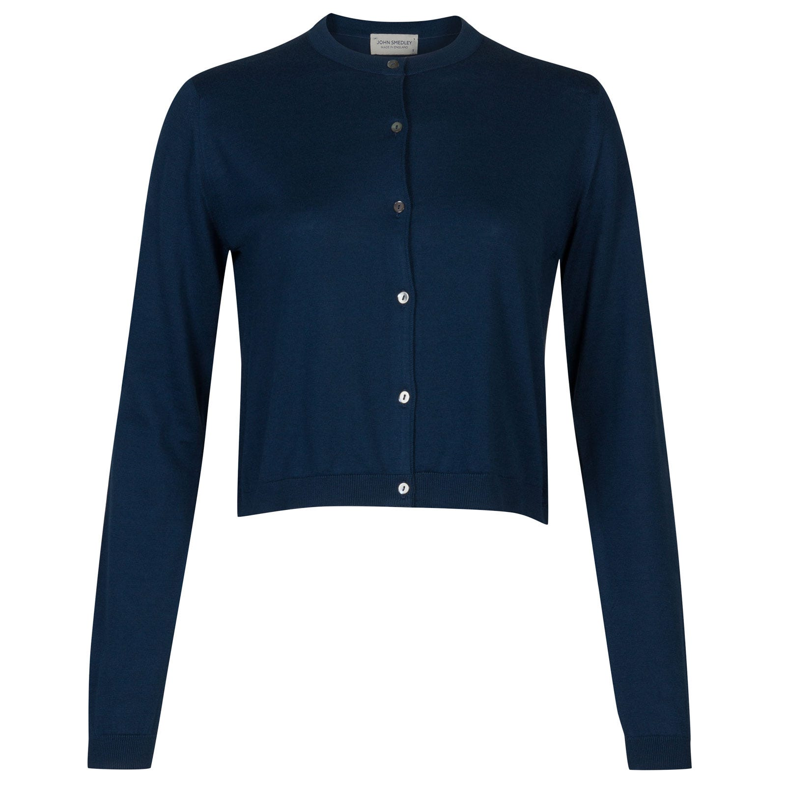 John Smedley Bowes Sea Island Cotton Cardigan in Indigo-L