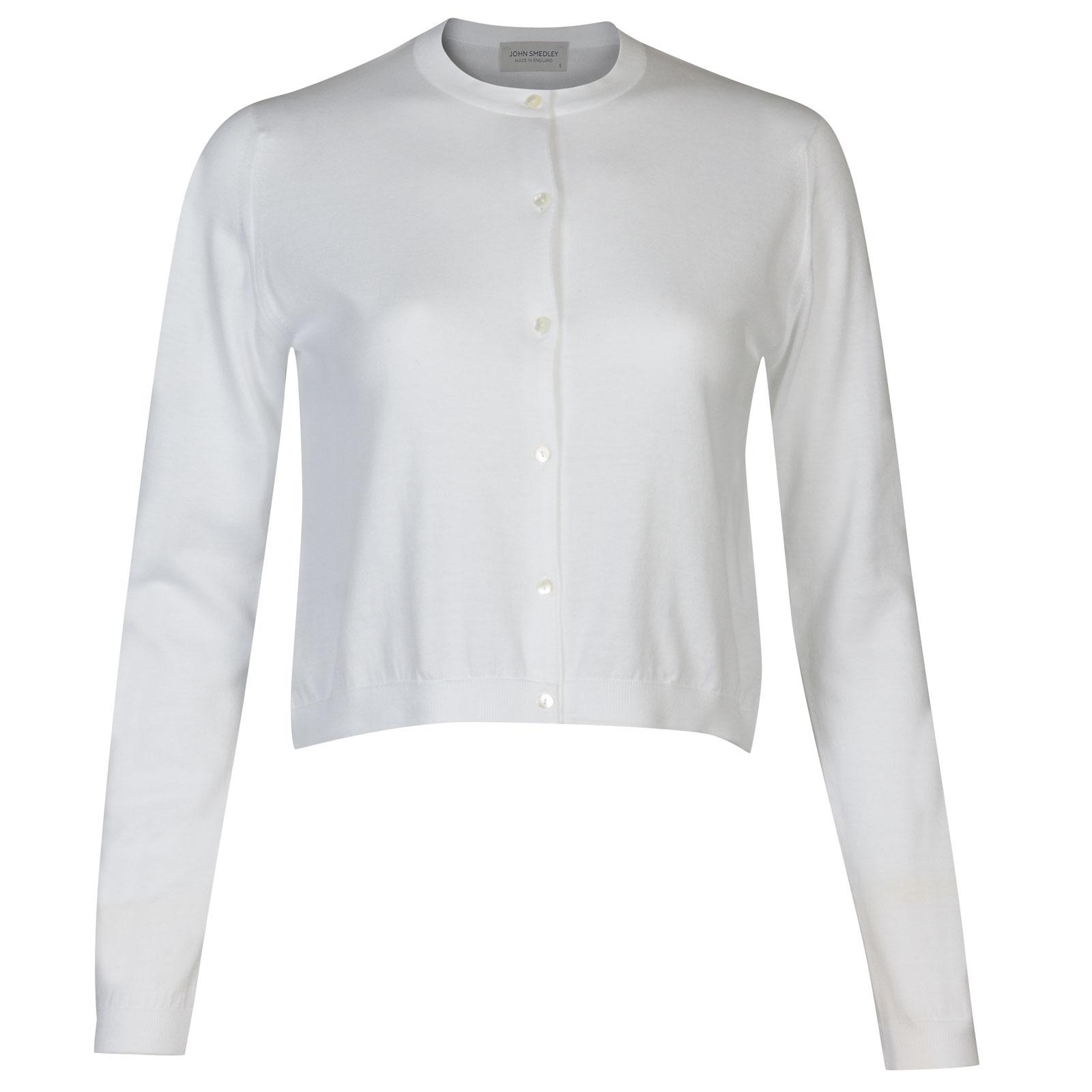 John Smedley Bowes Sea Island Cotton Cardigan in White-S