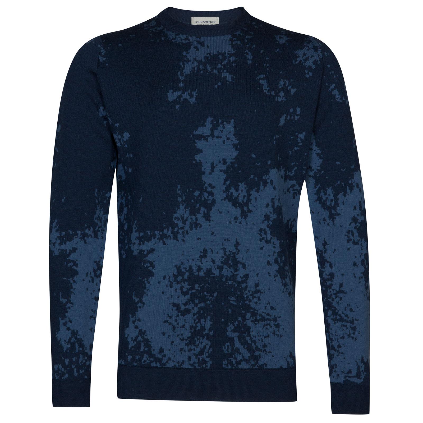 John Smedley bowland Merino Wool Pullover in Indigo/Derwent Blue-L