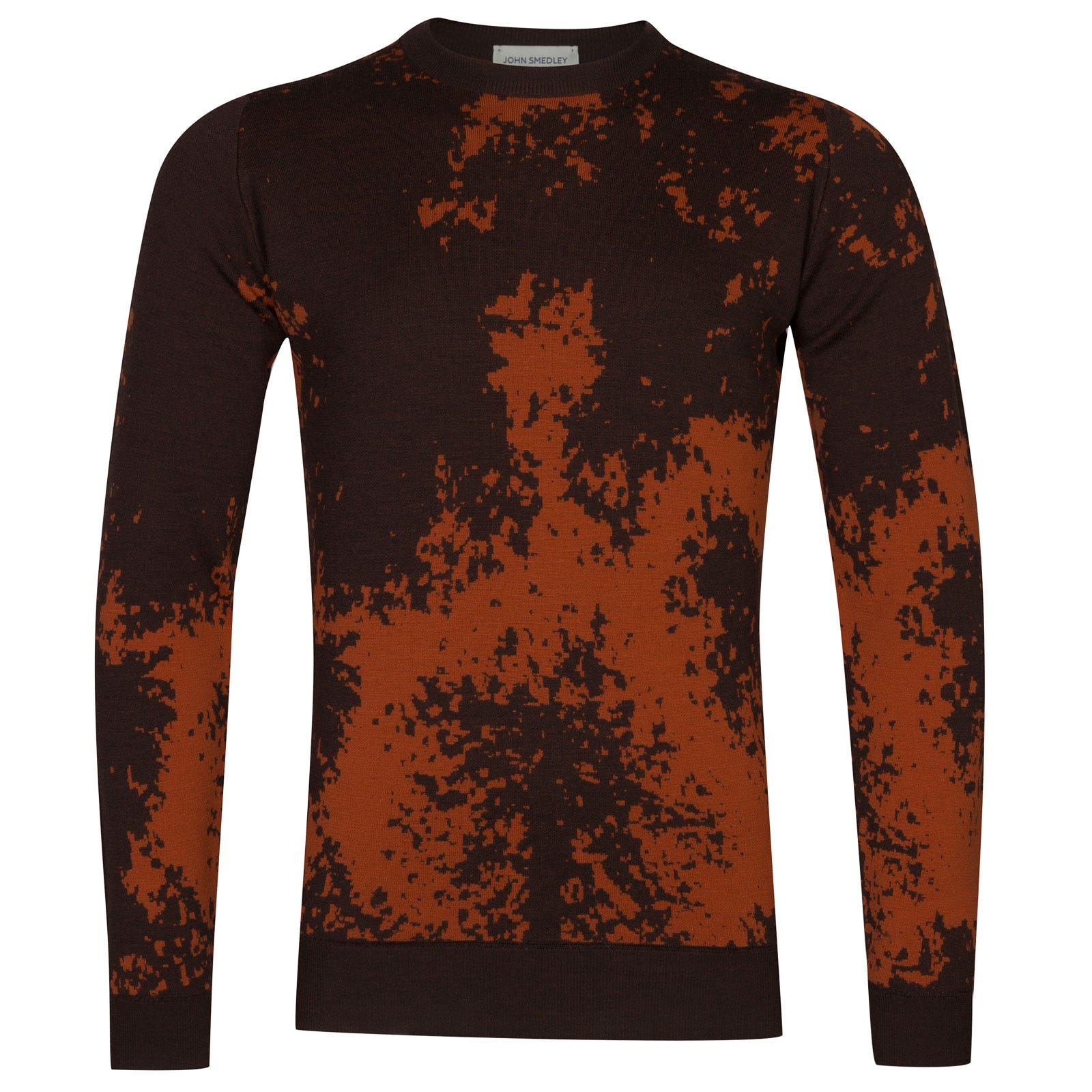 John Smedley bowland Merino Wool Pullover in Chestnut/Flare Orange-S