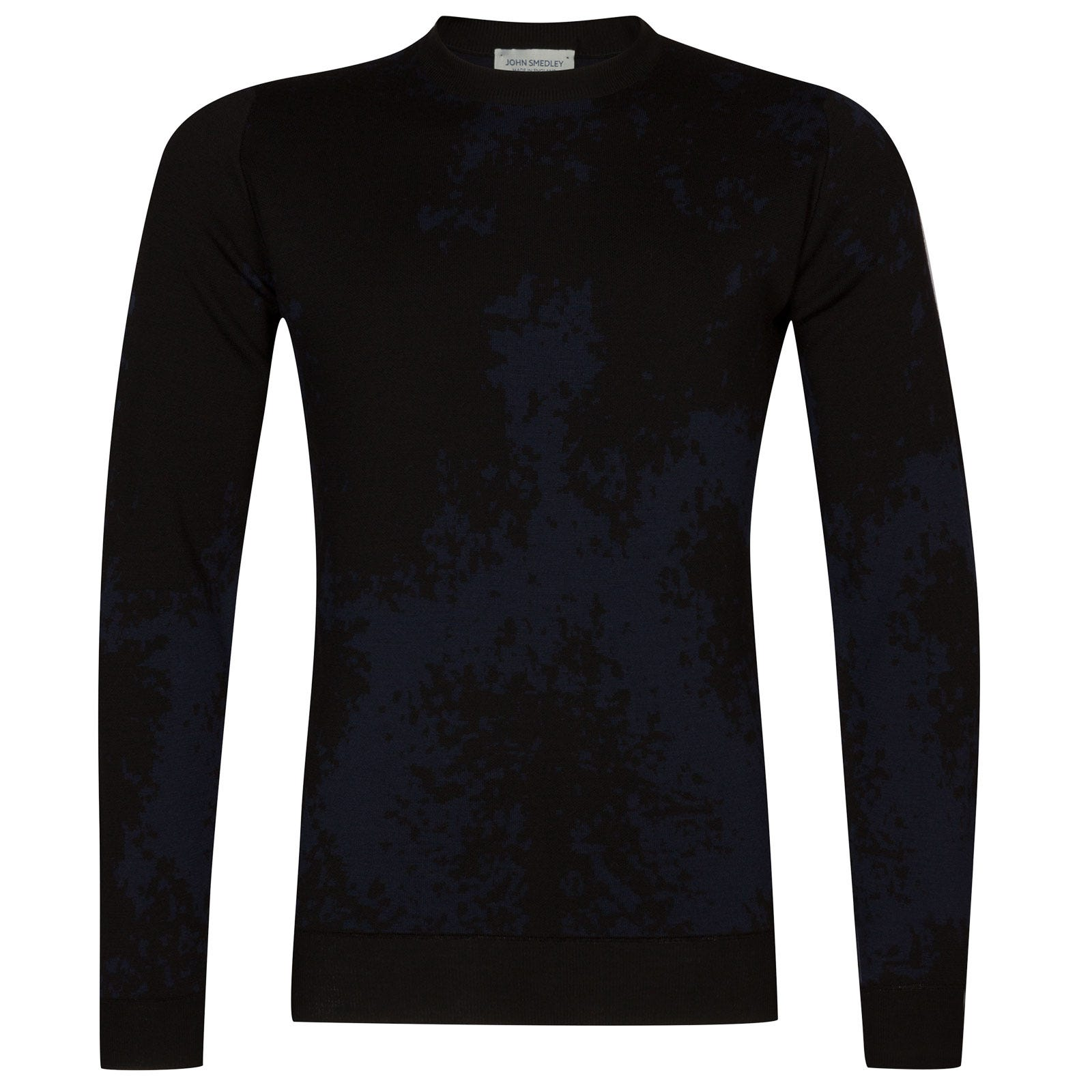 John Smedley bowland Merino Wool Pullover in Black/Midnight-XXL
