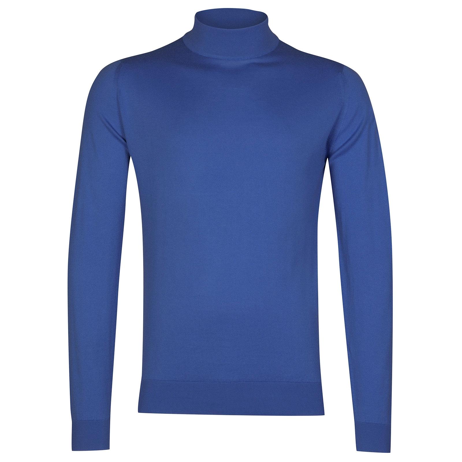 John Smedley Bradgate Sea Island Cotton Pullover in Chambray Blue-XXL