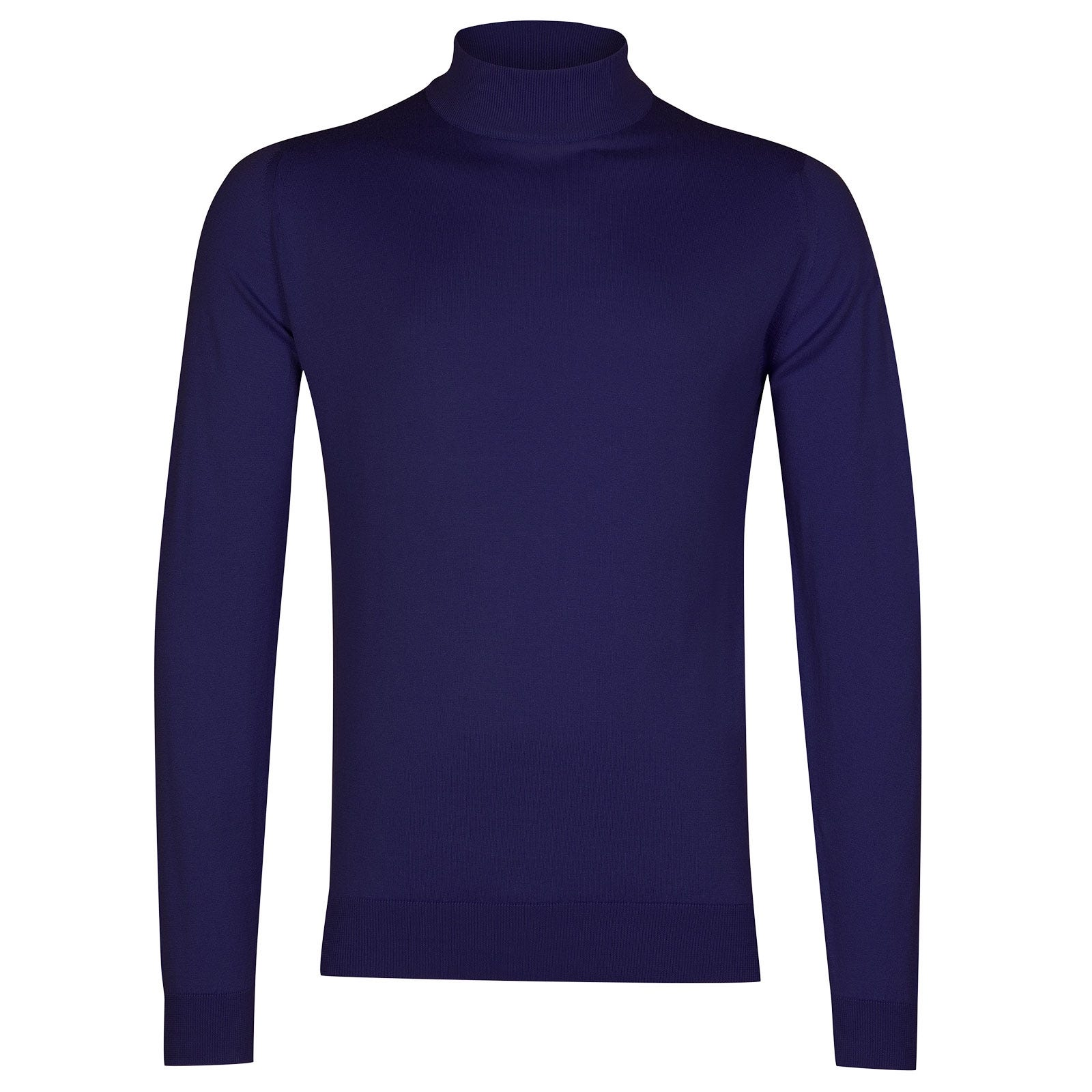 John Smedley Bradgate Sea Island Cotton Pullover in Serge Blue-XL