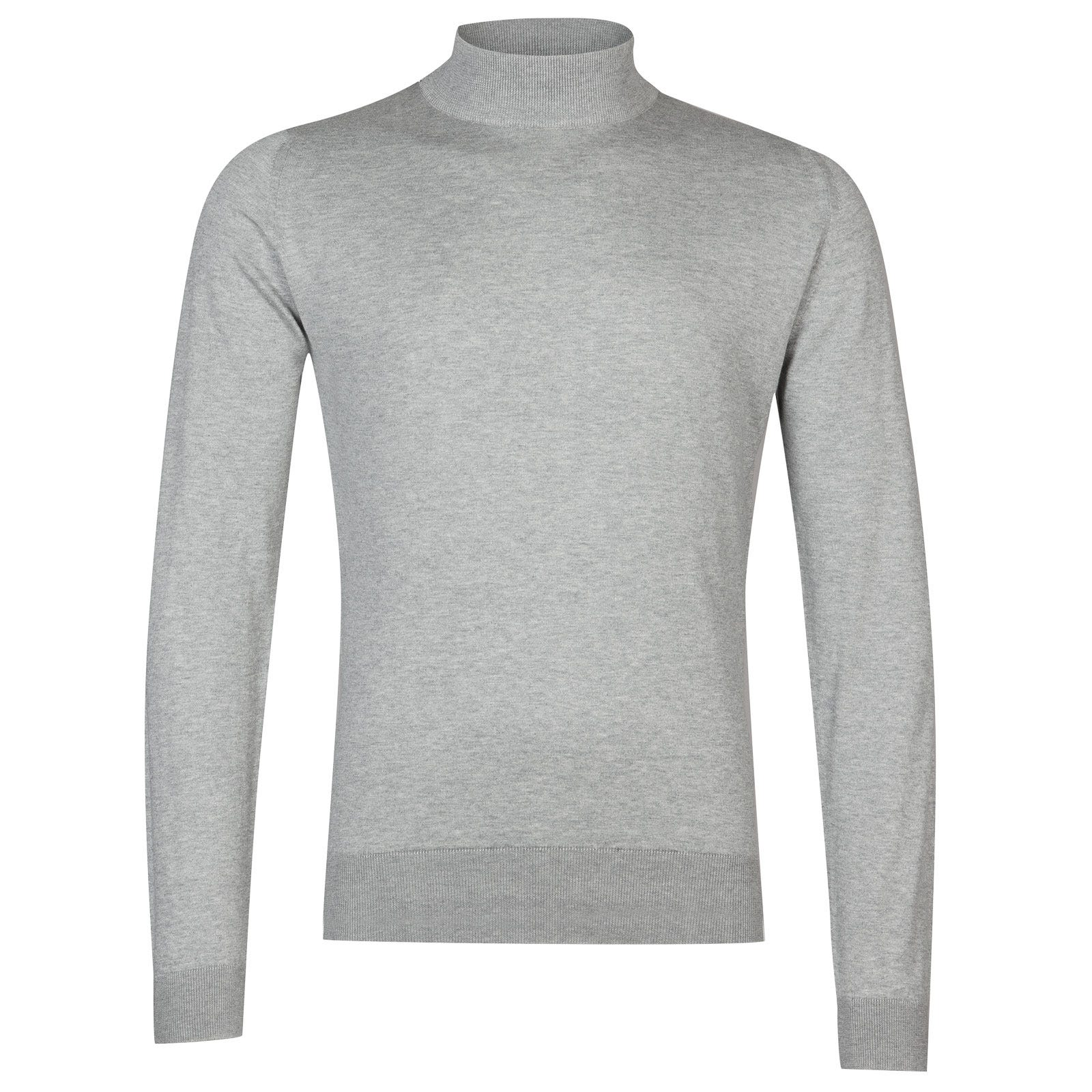John Smedley Bradgate Sea Island Cotton Pullover in Silver-XL
