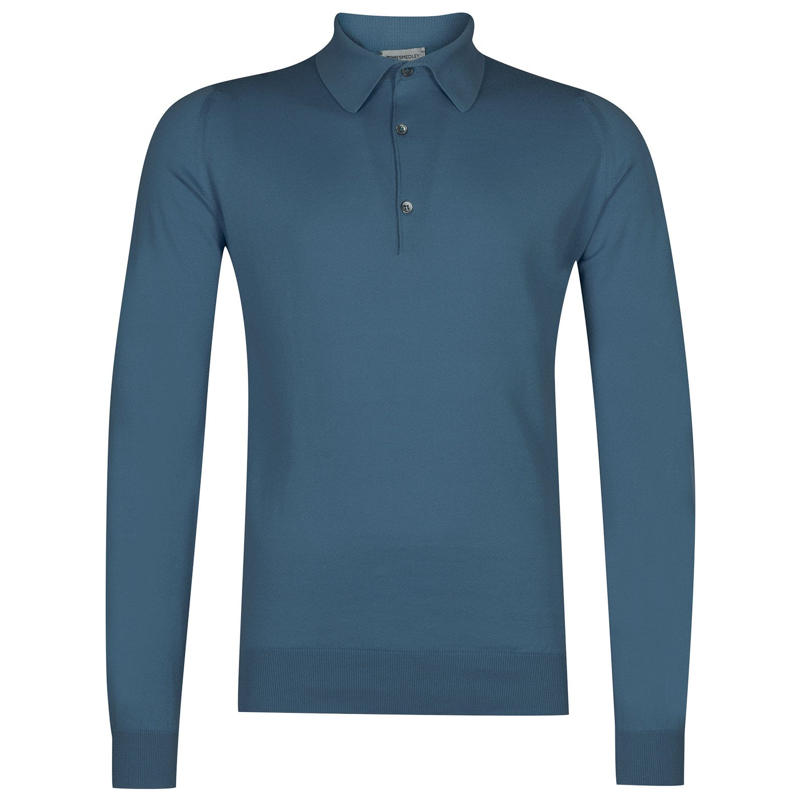 John Smedley Bradwell Sea Island Cotton Shirt in Bias Blue-M