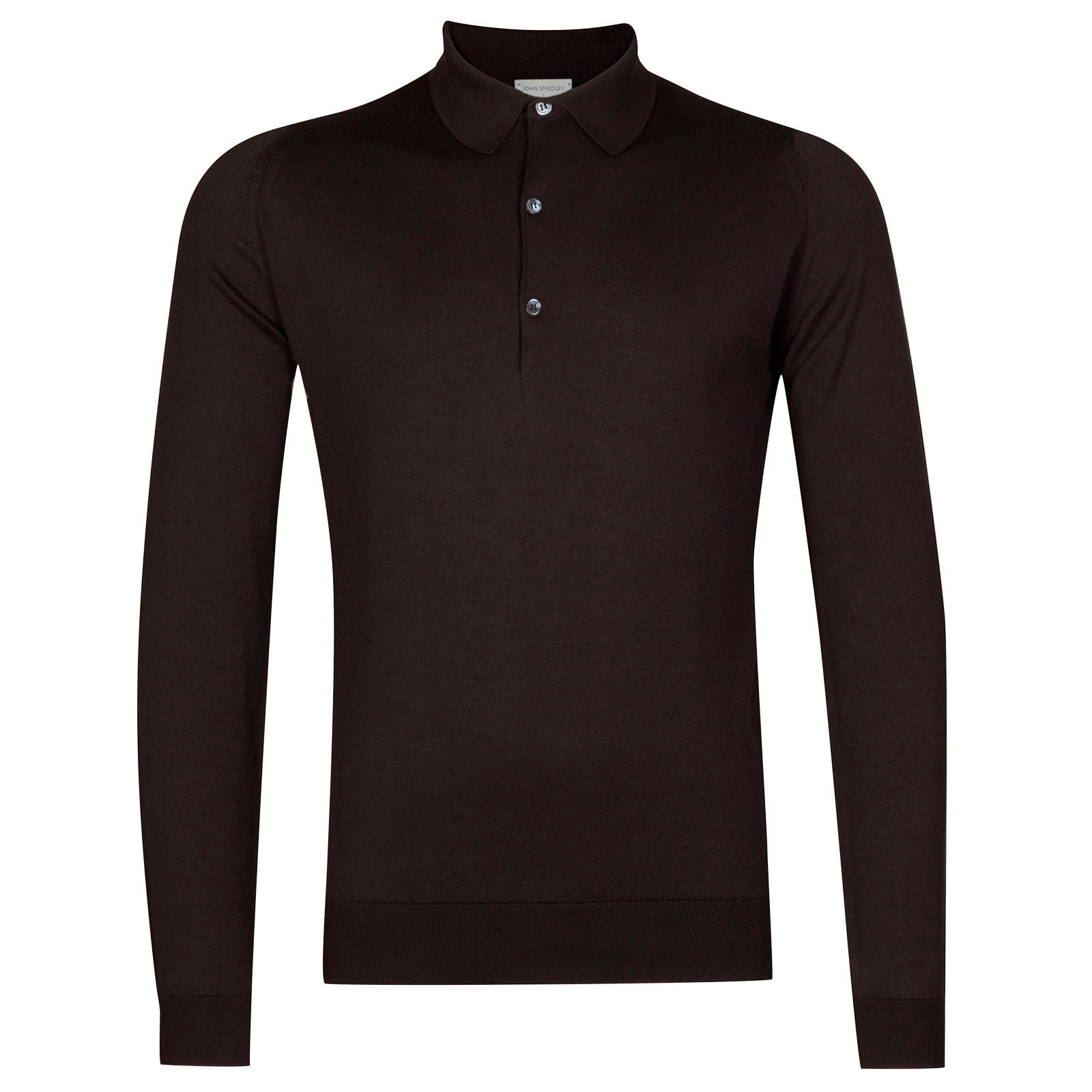 John Smedley Bradwell Sea Island Cotton Shirt in Dark Leather-XL