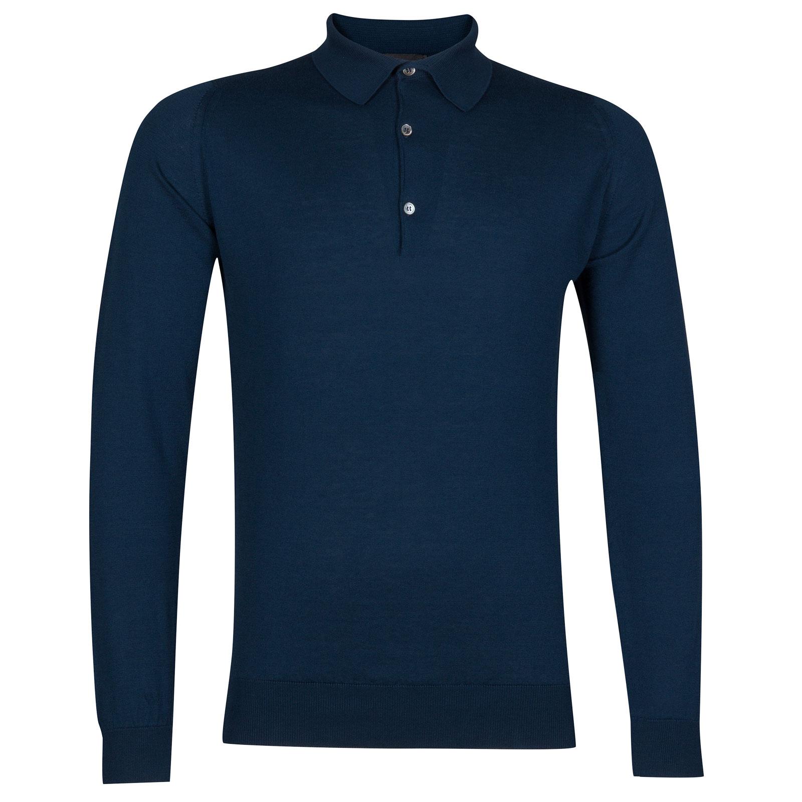 John Smedley bradwell Sea Island Cotton Shirt in Indigo-M