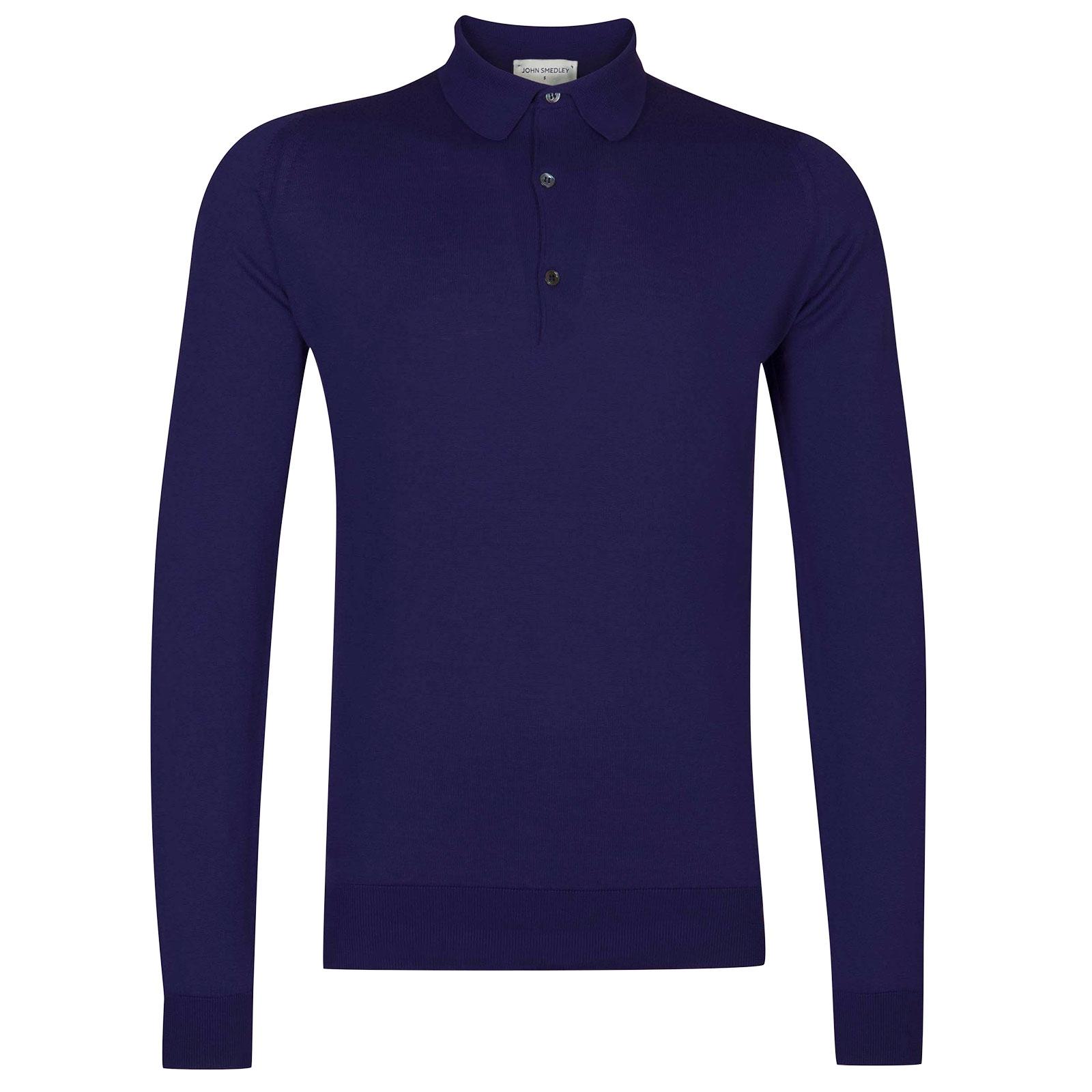 John Smedley Bradwell Sea Island Cotton Shirt in Serge Blue-XXL