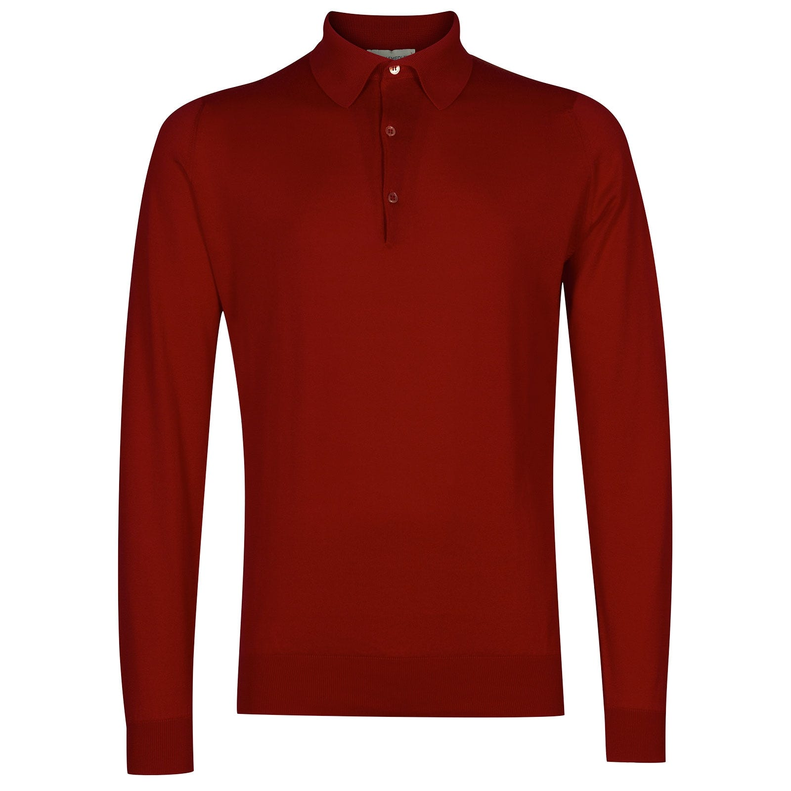 John Smedley Bradwell Sea Island Cotton Shirt in Thermal Red-XL