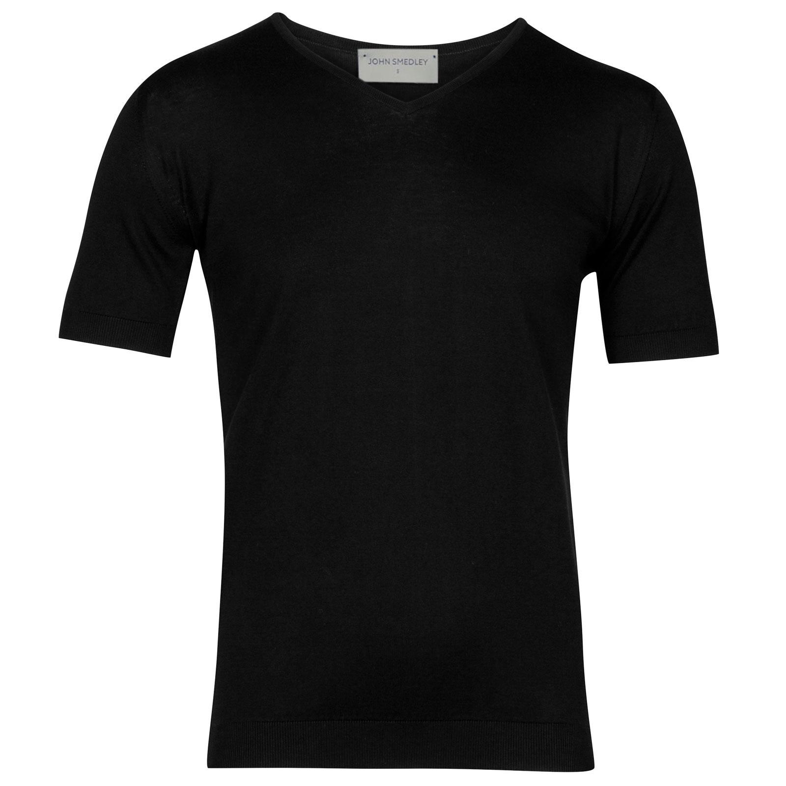 John Smedley Braedon Sea Island Cotton T-shirt in Black-M