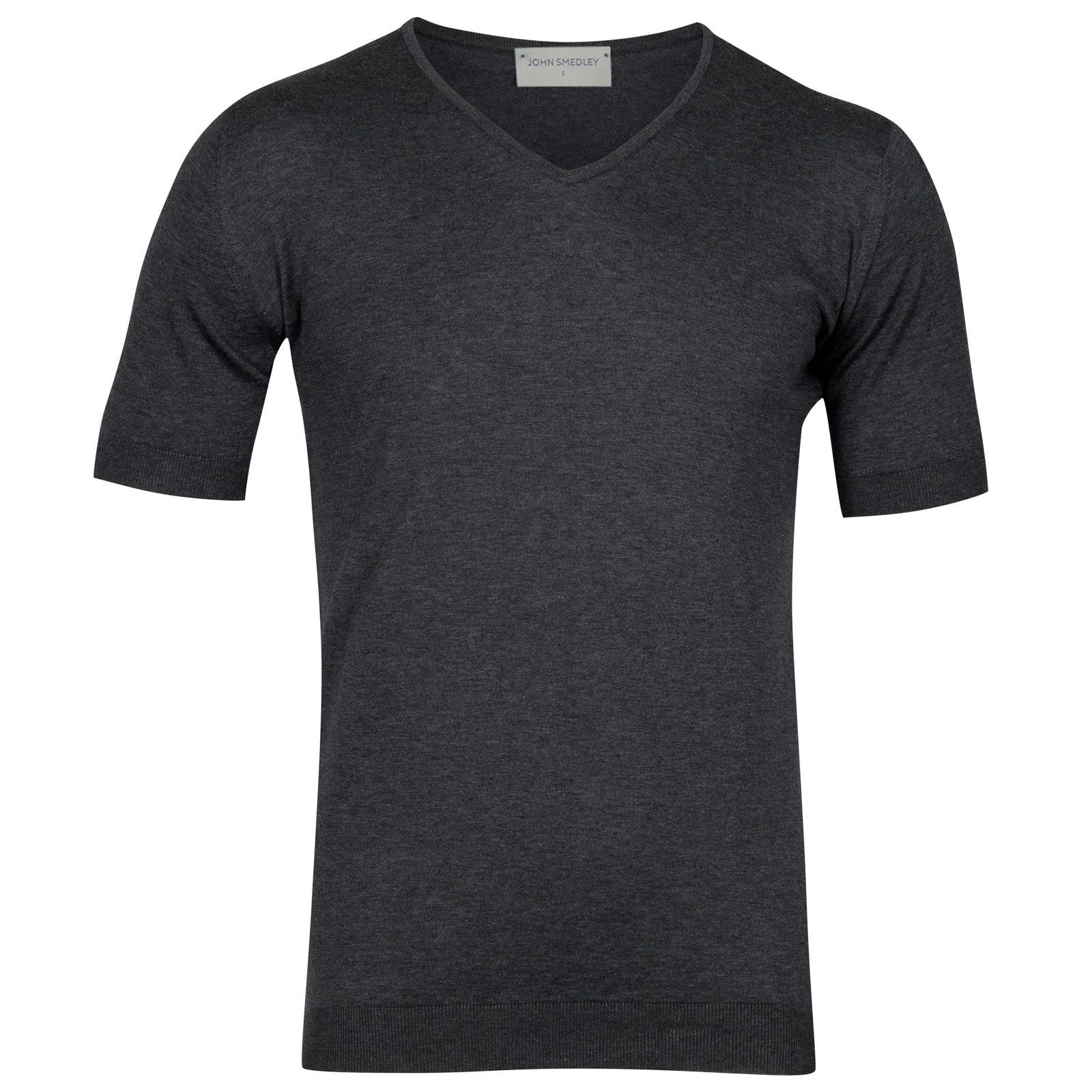 John Smedley Braedon Sea Island Cotton T-shirt in Charcoal-XL