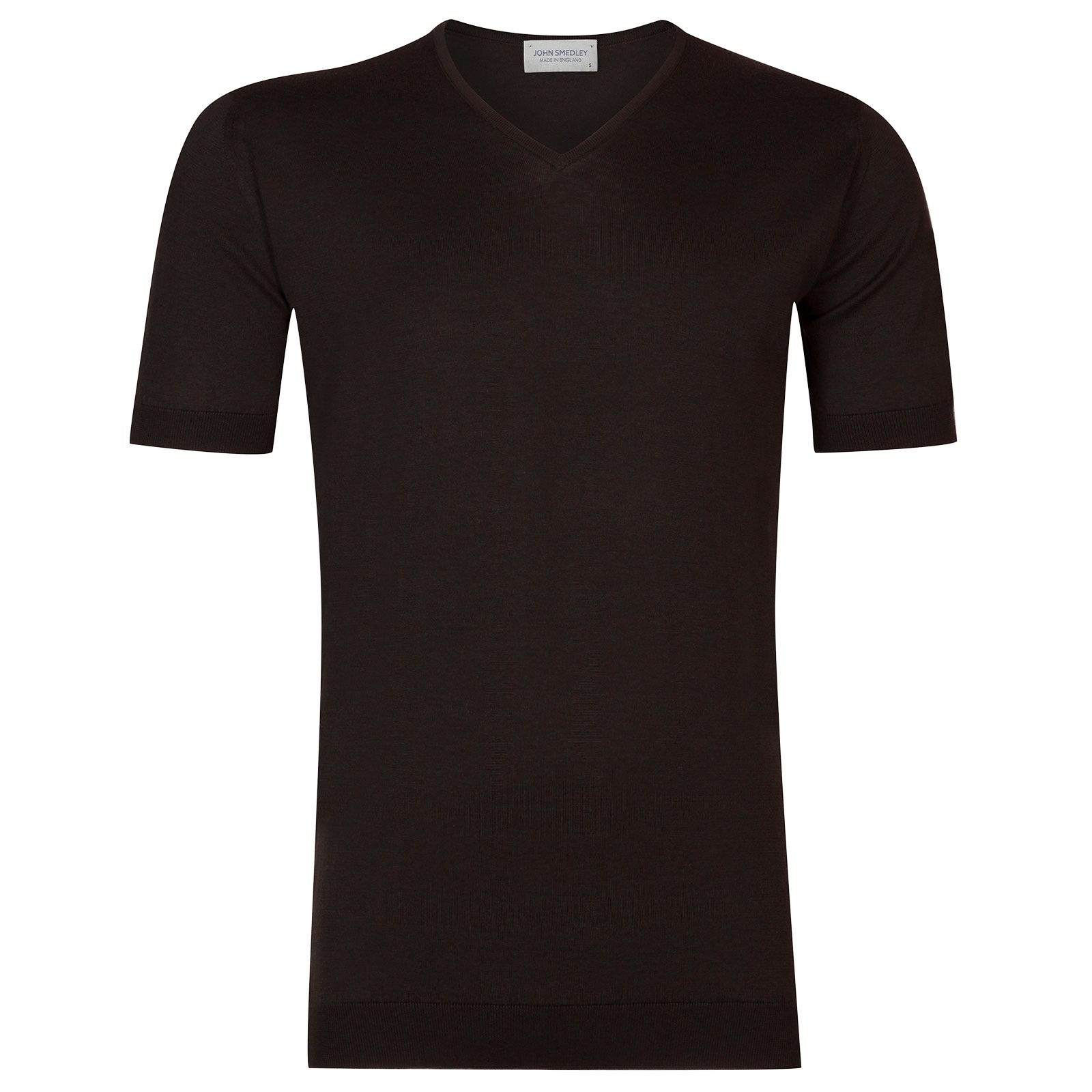John Smedley Braedon Sea Island Cotton T-shirt in Dark Leather-M