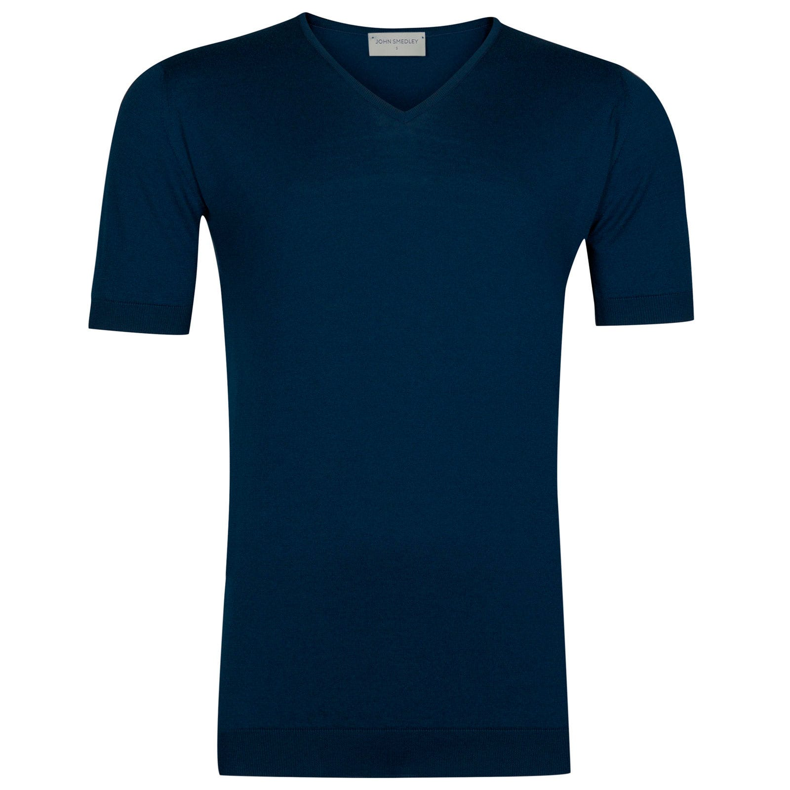 John Smedley Braedon Sea Island Cotton T-shirt in Indigo-L