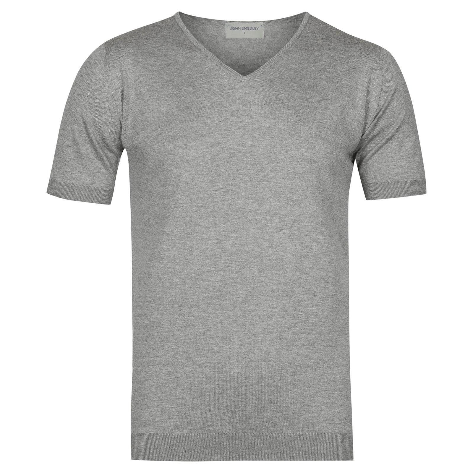 John Smedley Braedon Sea Island Cotton T-shirt in Silver-L