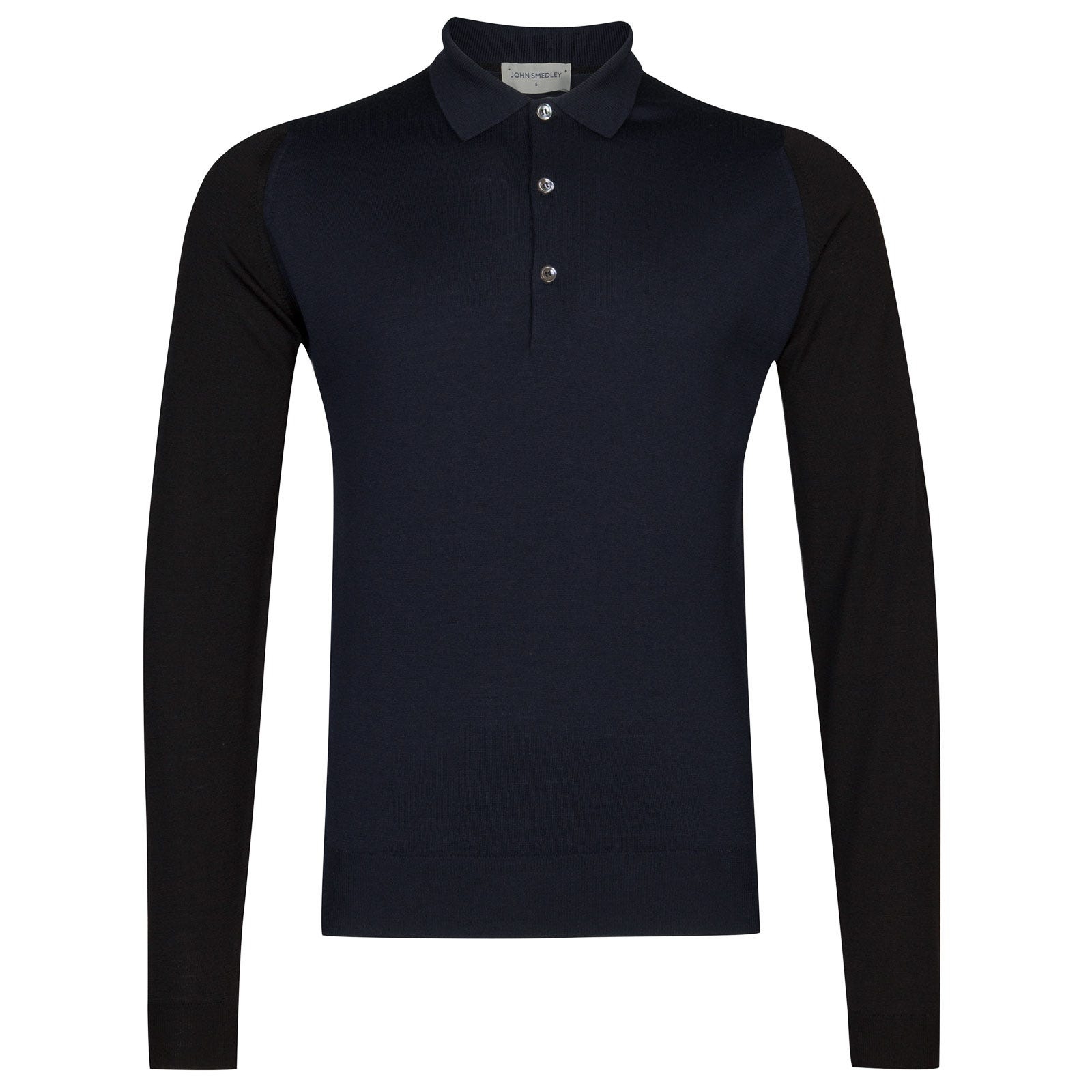 John Smedley Brightgate Merino Wool Shirt in Black/Midnight-XL