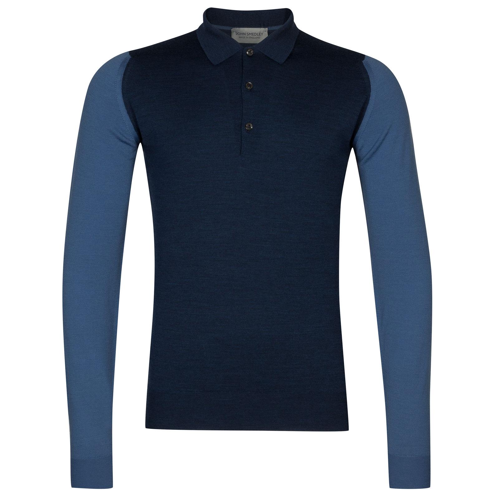 John Smedley Brightgate Merino Wool Shirt in Indigo/Derwent Blue-L