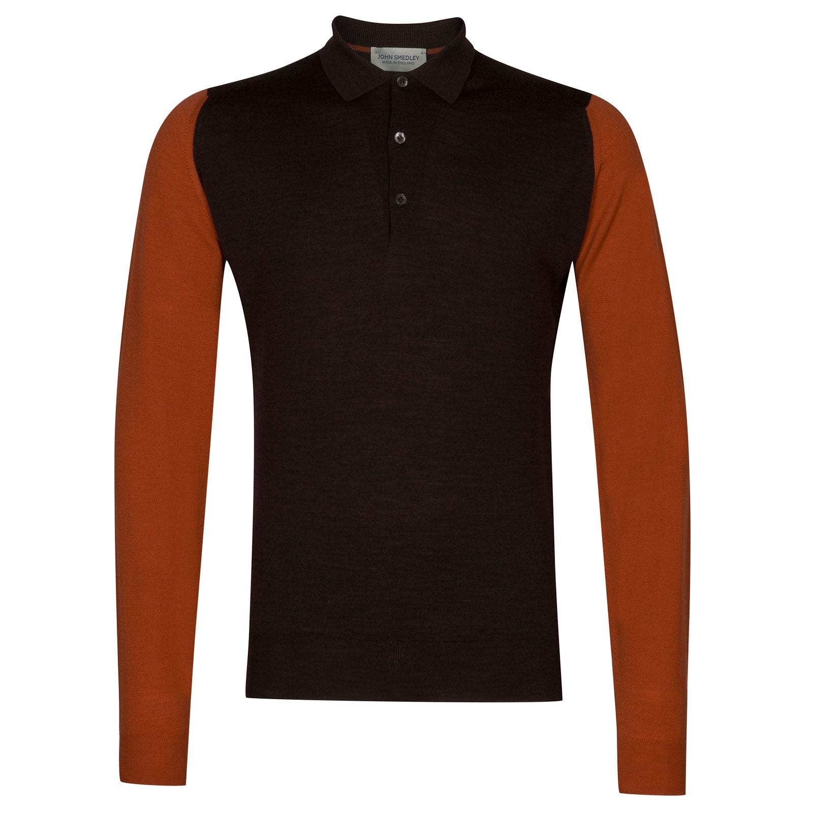 John Smedley Brightgate Merino Wool Shirt in Chestnut/Flare Orange-XL