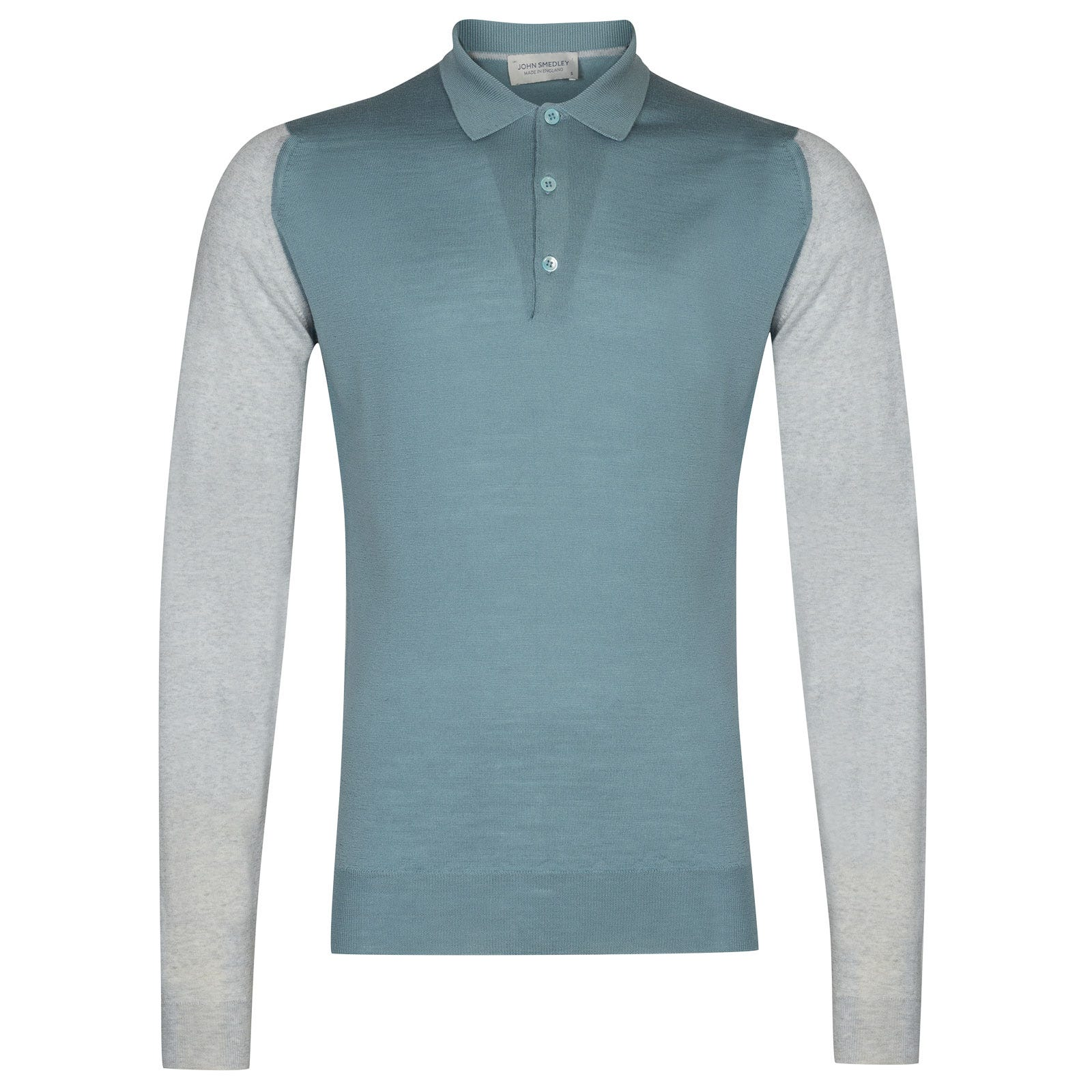 John Smedley Brightgate Merino Wool Shirt in Bardot Grey/Summit Blue-M