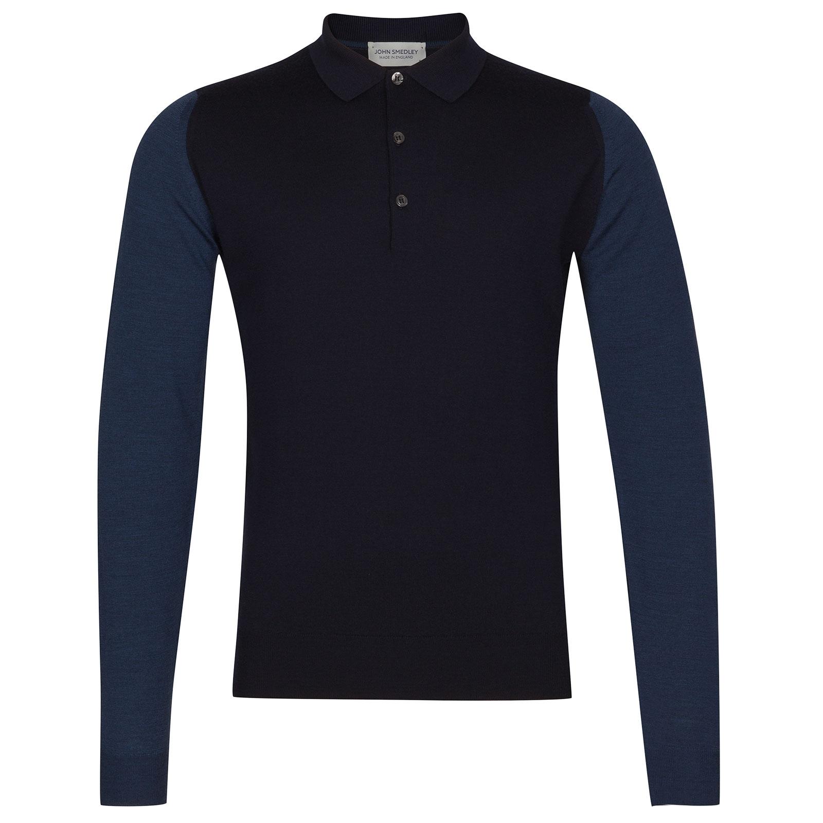 John Smedley Brightgate Extra Fine Merino Wool Shirt in Midnight-L