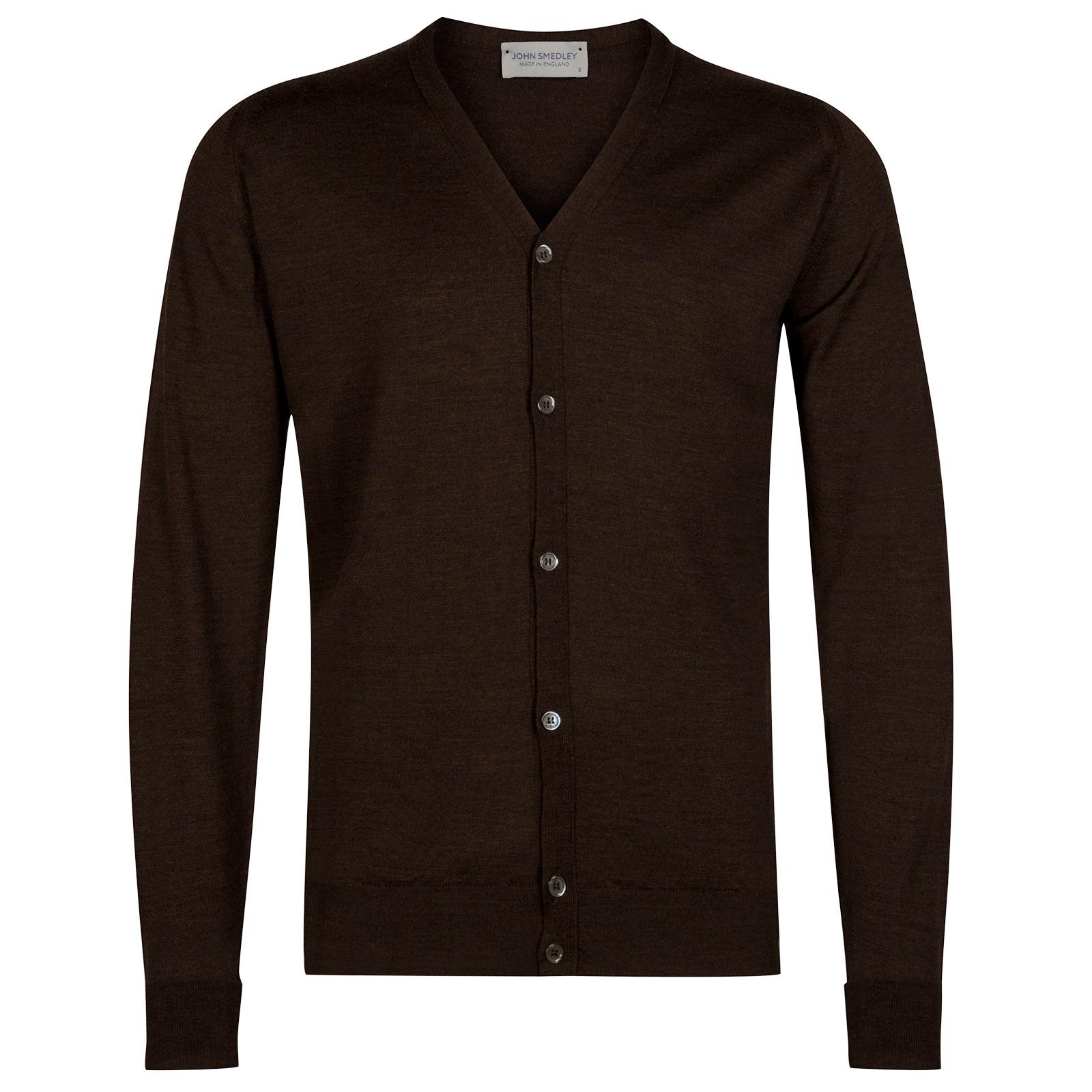 John Smedley Bryn Merino Wool Cardigan in Chestnut-XL